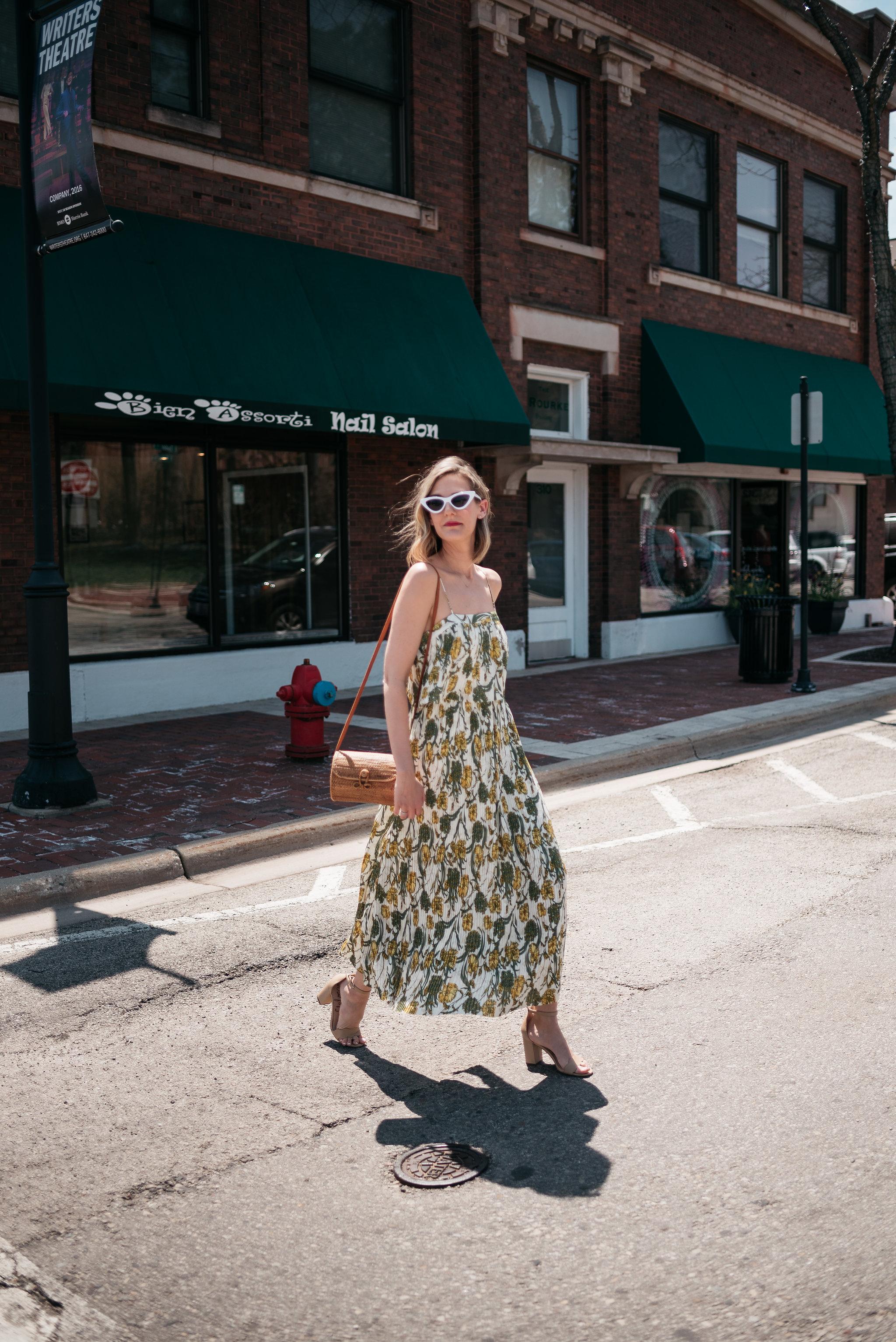 leith dress cat eye sunglasses woven bag colorful prints