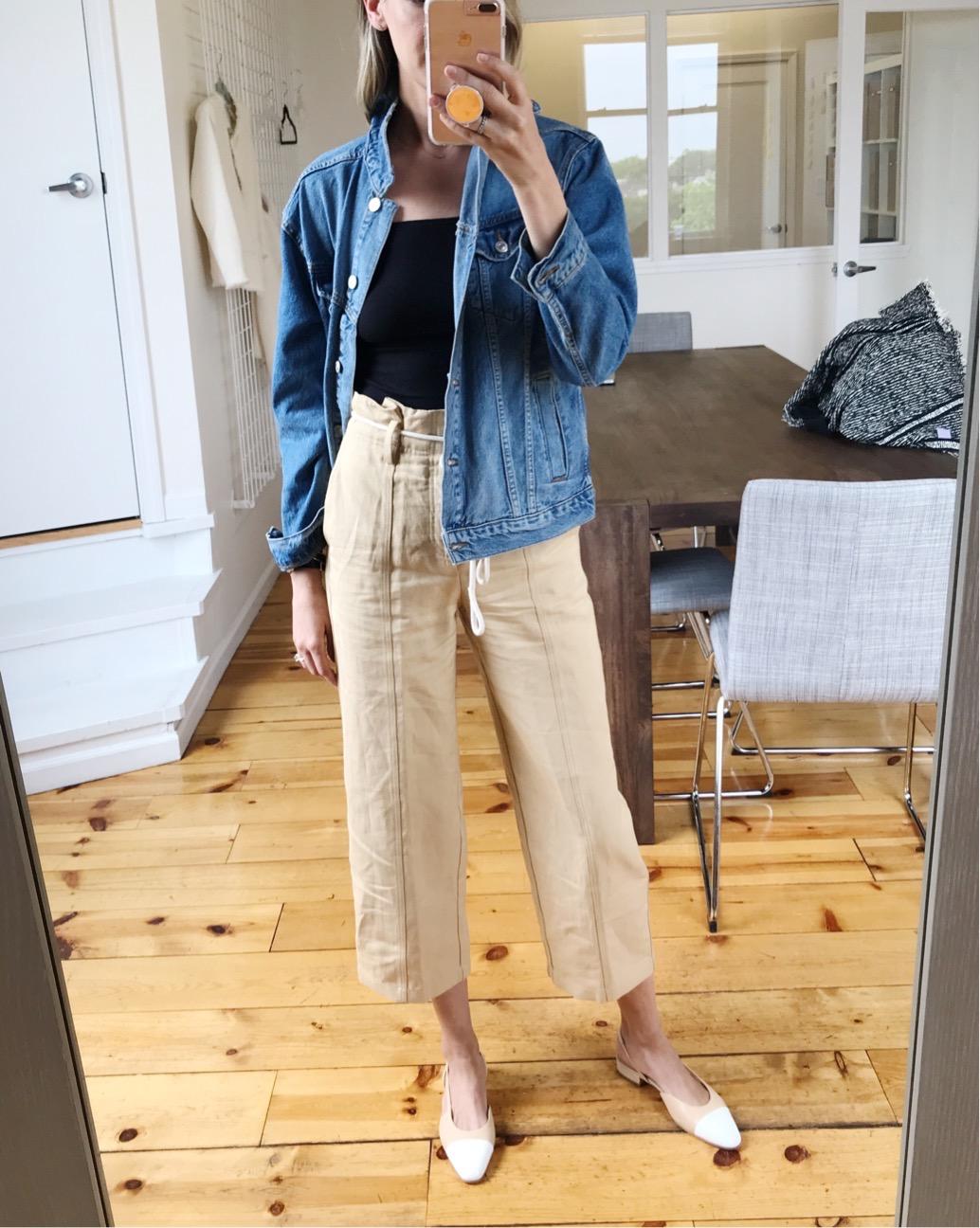 vince linen pants jean jacket bodysuit