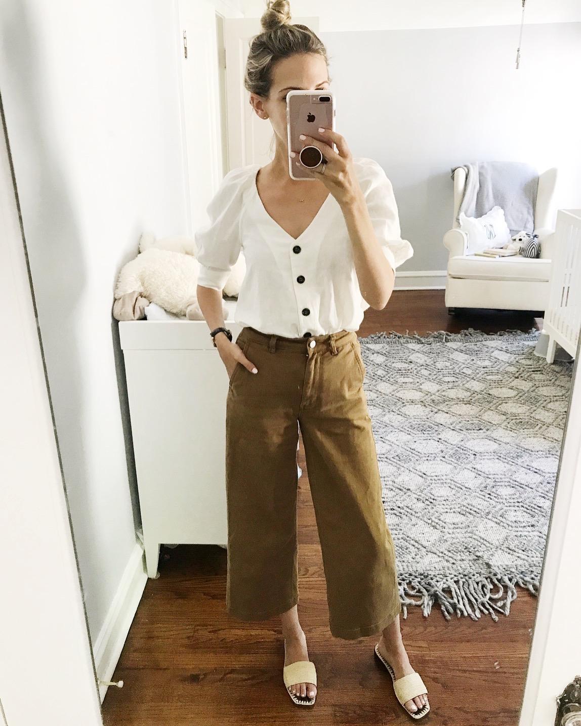 #ootd wide leg crop pants everlane puff sleeve shirt classic