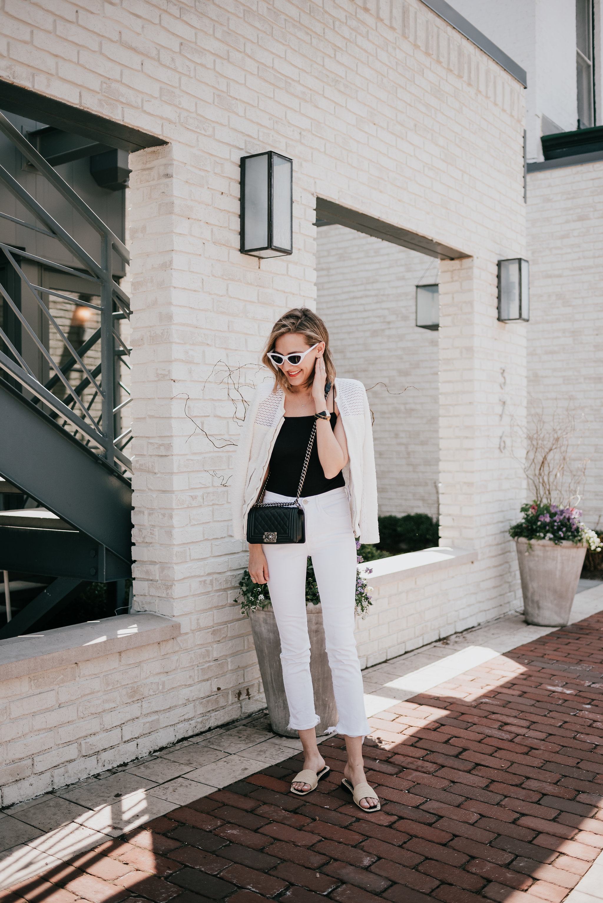 all white and black outfit