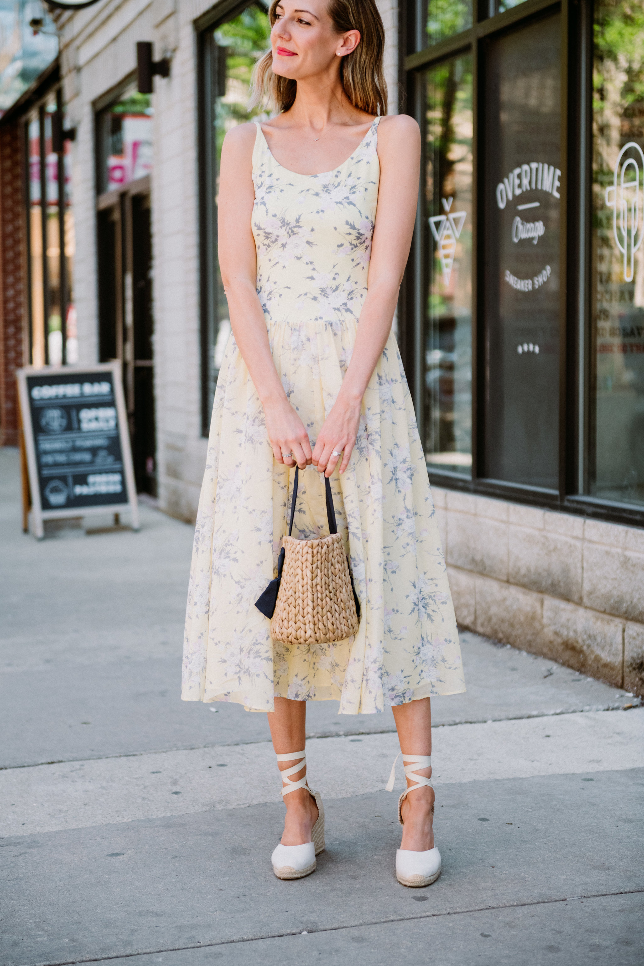 rebecca taylor lemon yellow dress espadrilles straw bag