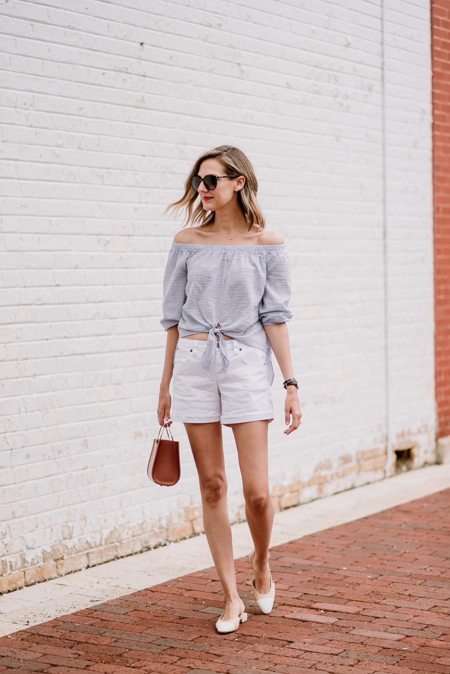 off the shoulder stripes white jean shorts