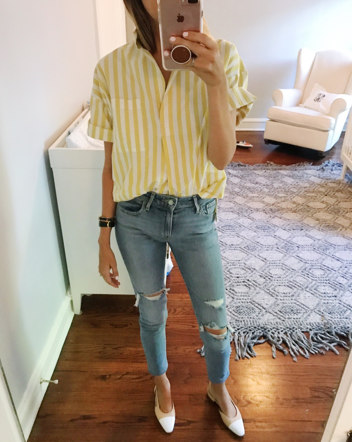 classic style striped shirt distressed jeans