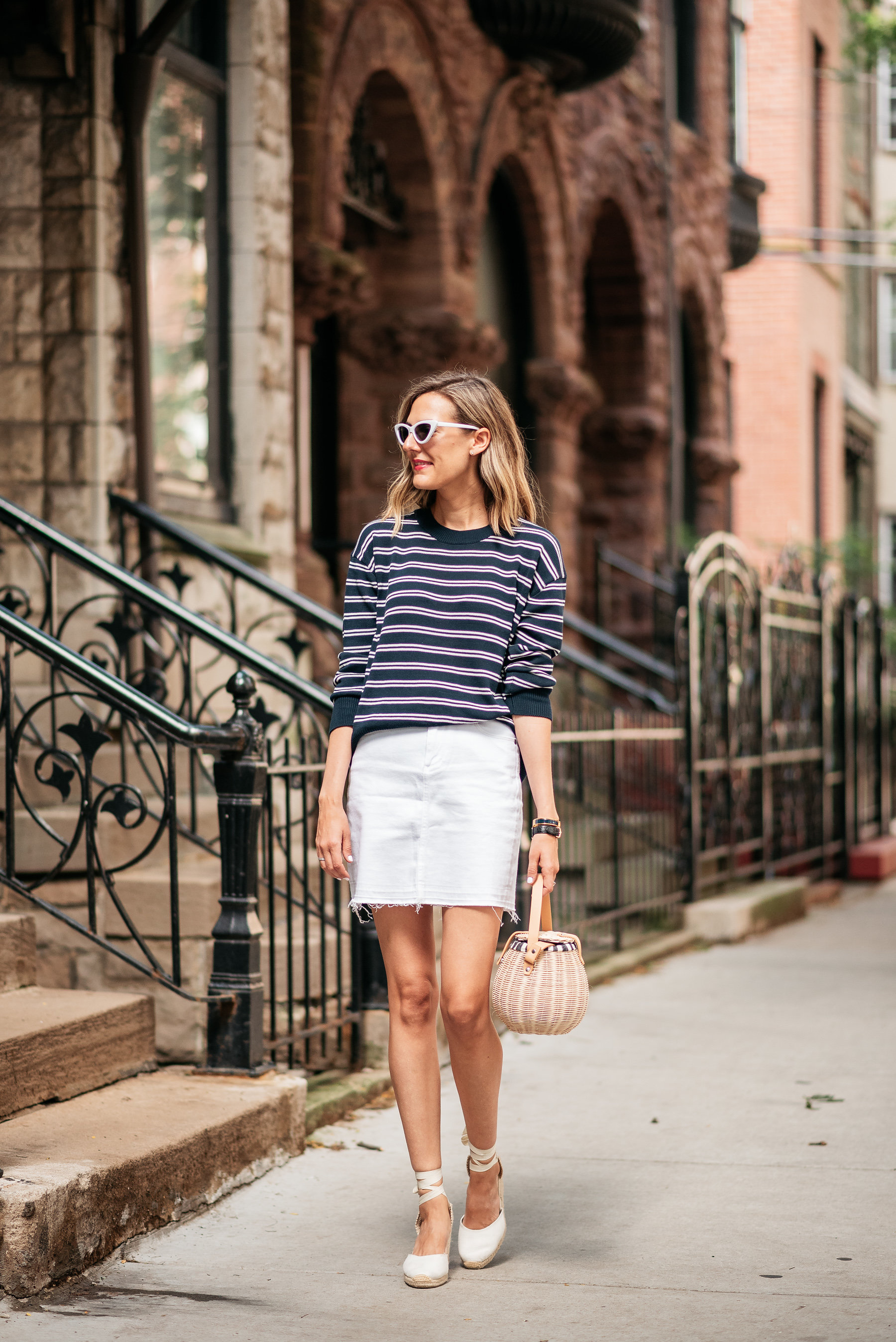 white denim miniskirt