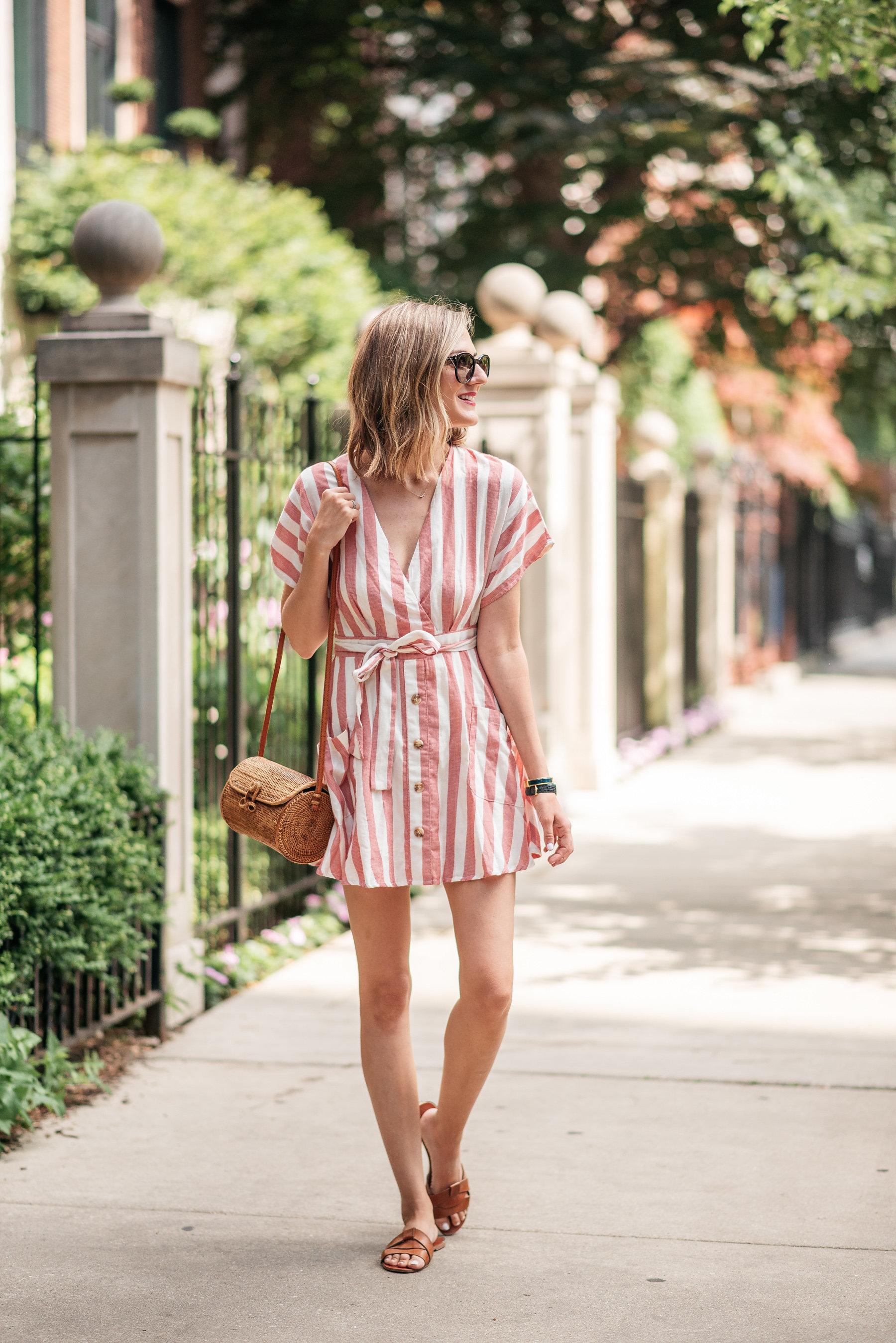 striped summer dress mini straw bag