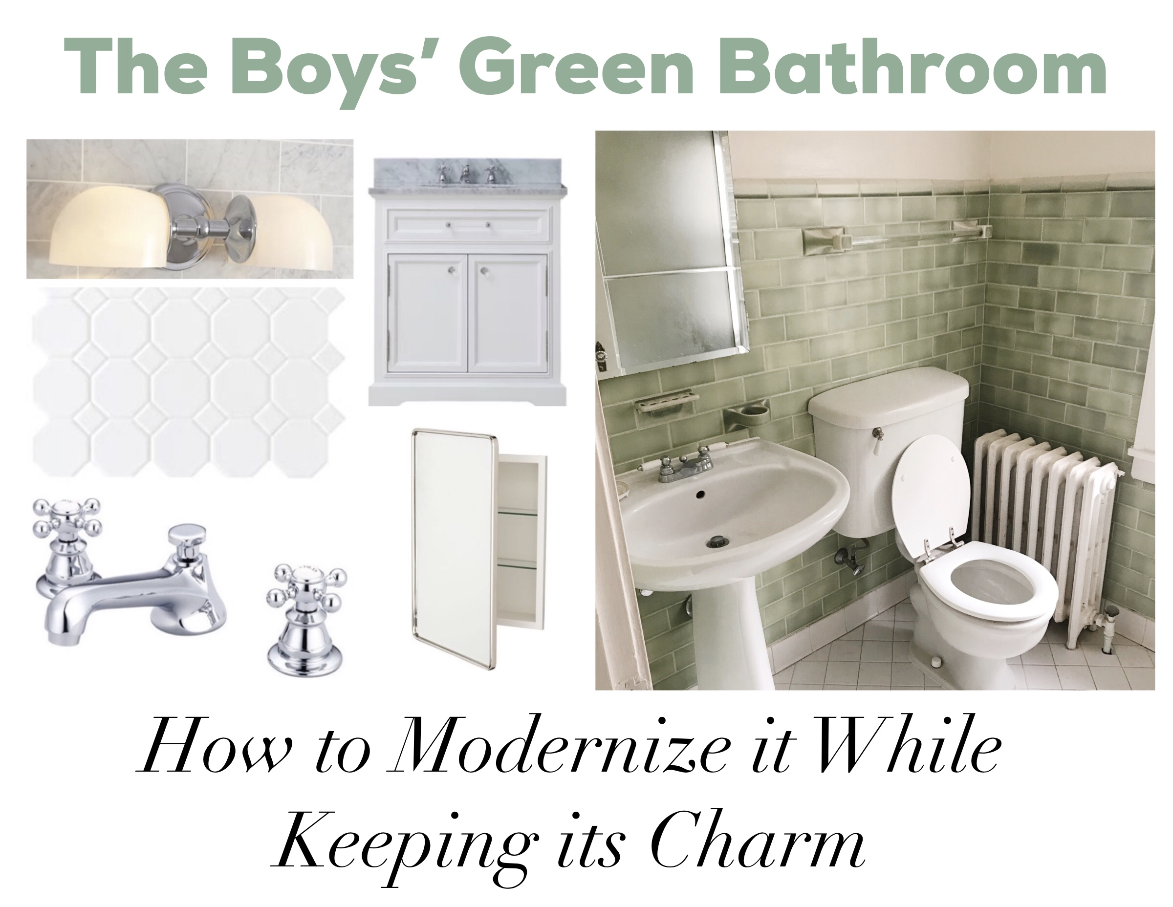 vintage bathroom update home renovations green tile