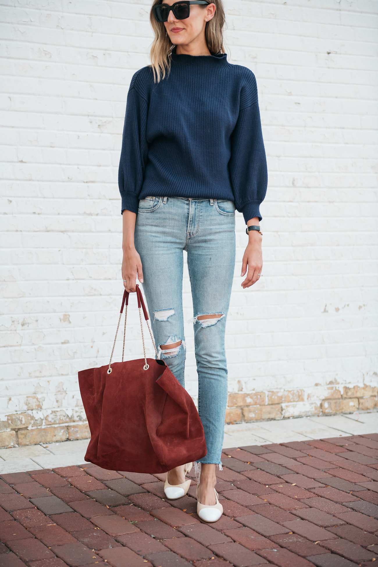 style classic jeans balloon sleeve sweater