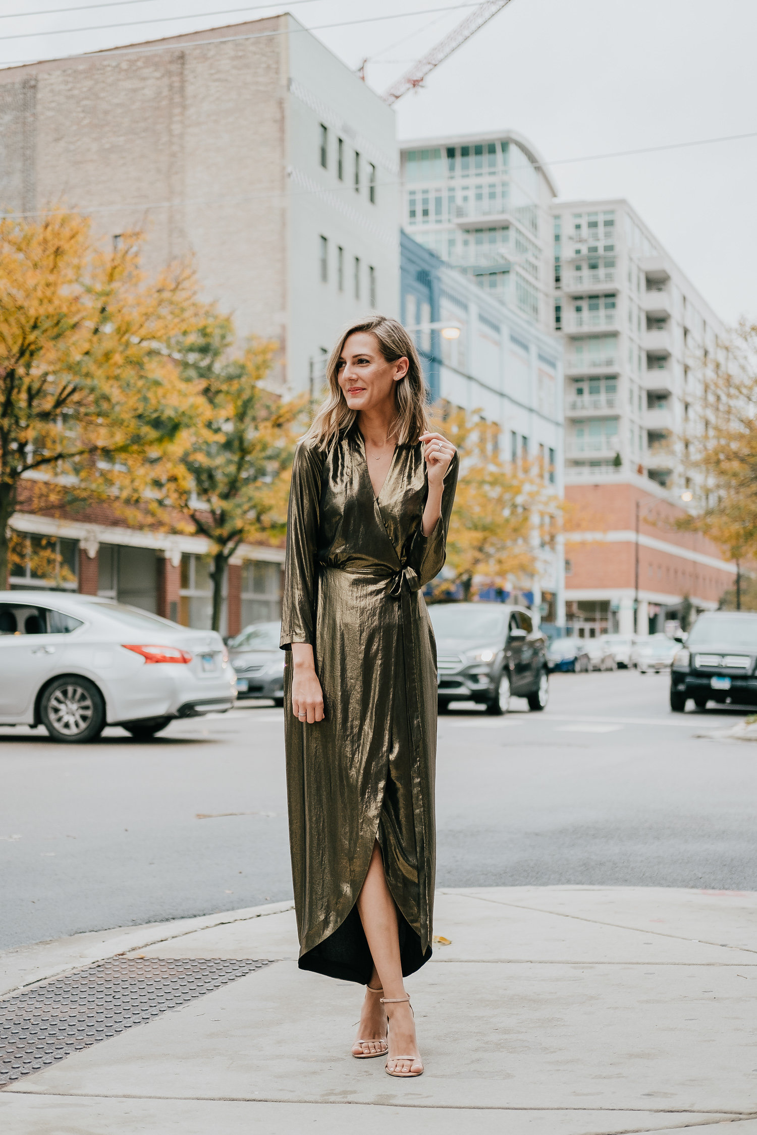 intermix l'agence gold lame dress