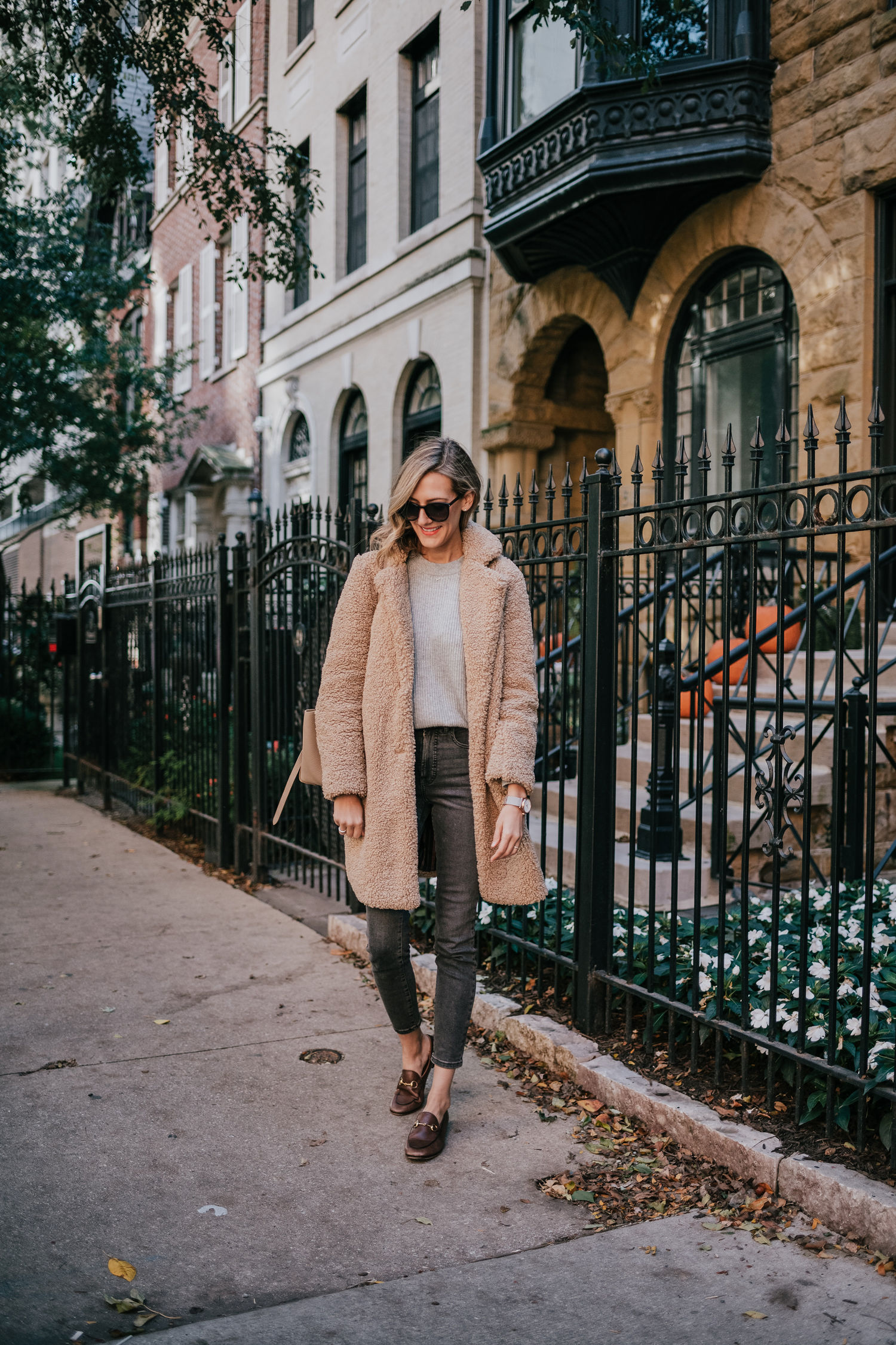 teddy coat with jeans