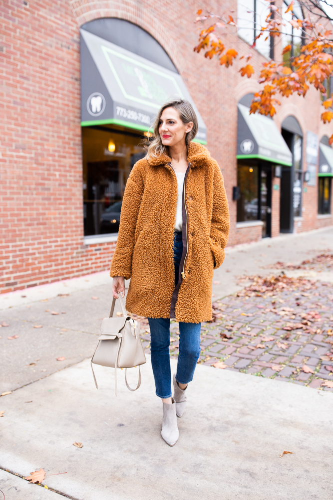 ebay j crew teddy coat fall outfit