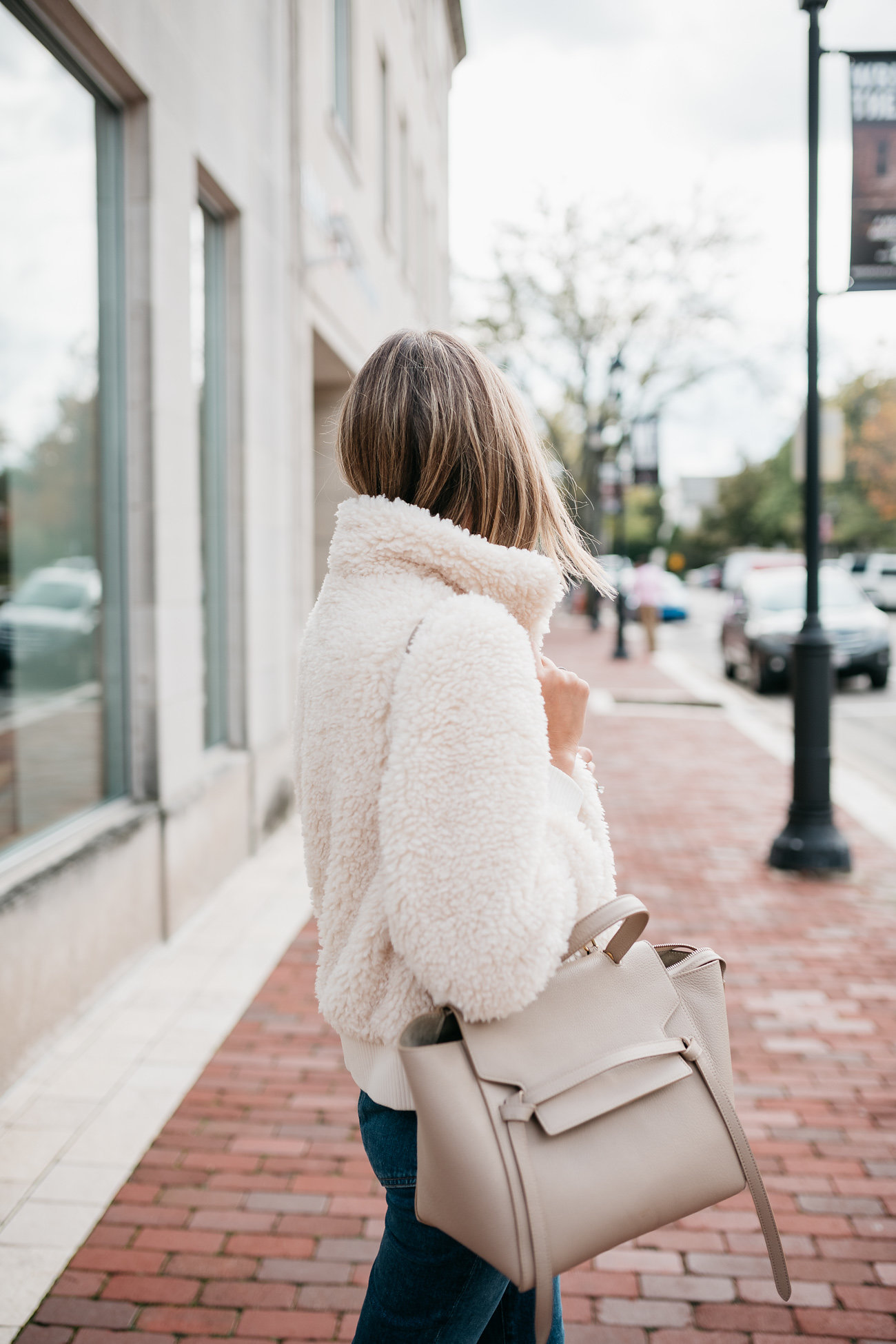 faux shearling bomber outfit cozy