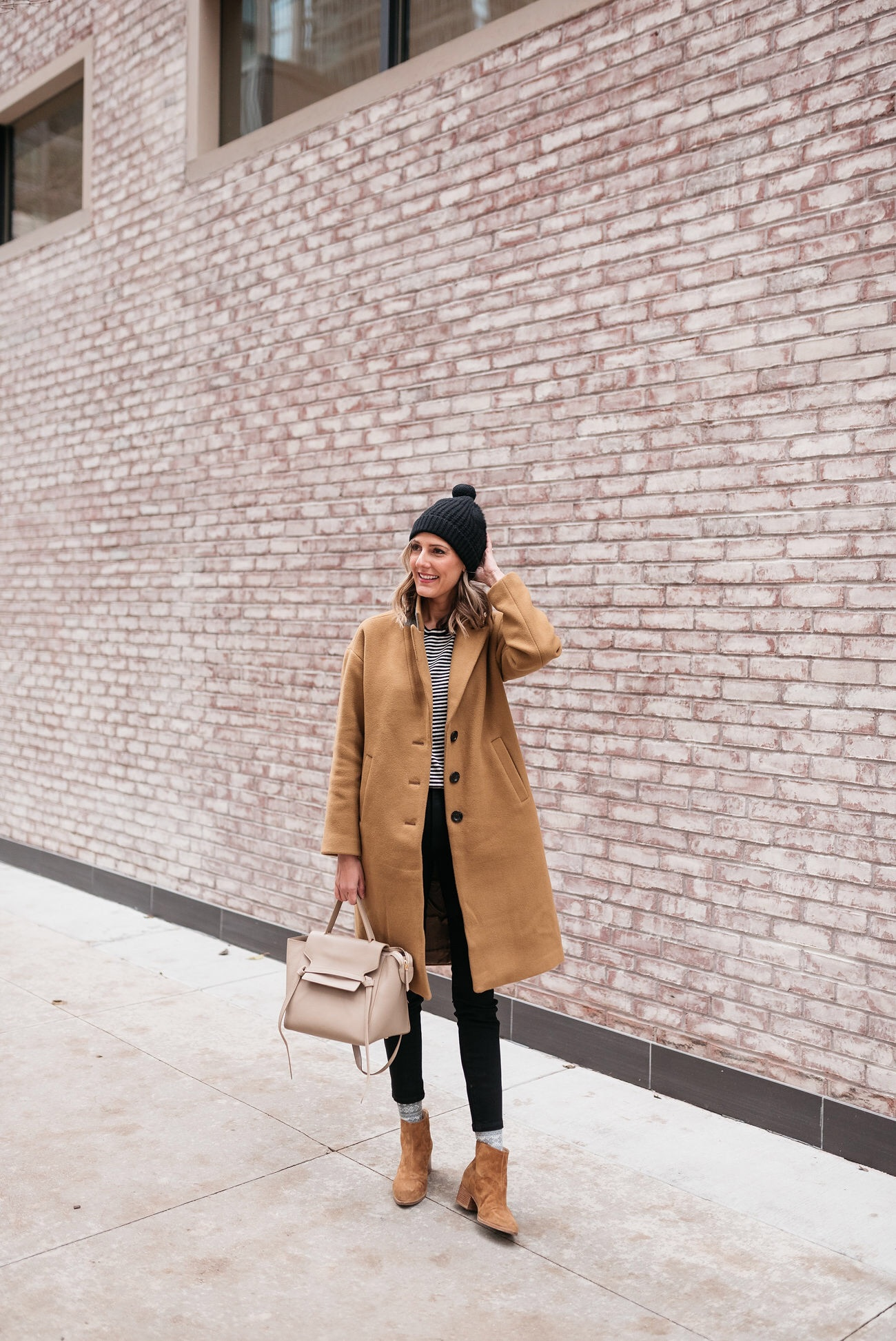 how to wear socks with booties camel coat stripes everlane