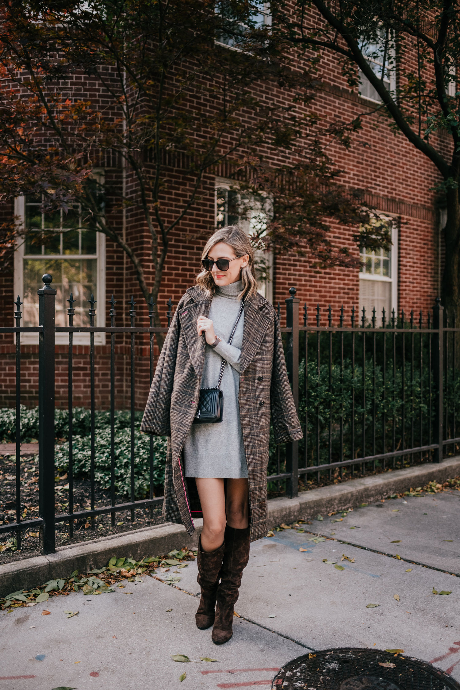 sweater dress plaid coat boots