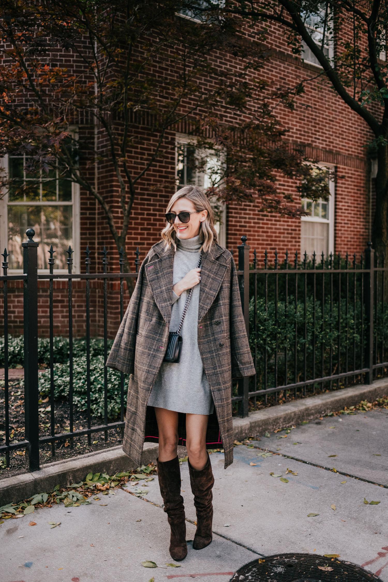 sweater dress plaid coat boots