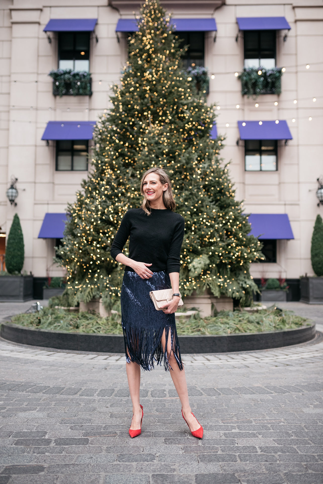 sequin skirt festive holiday look