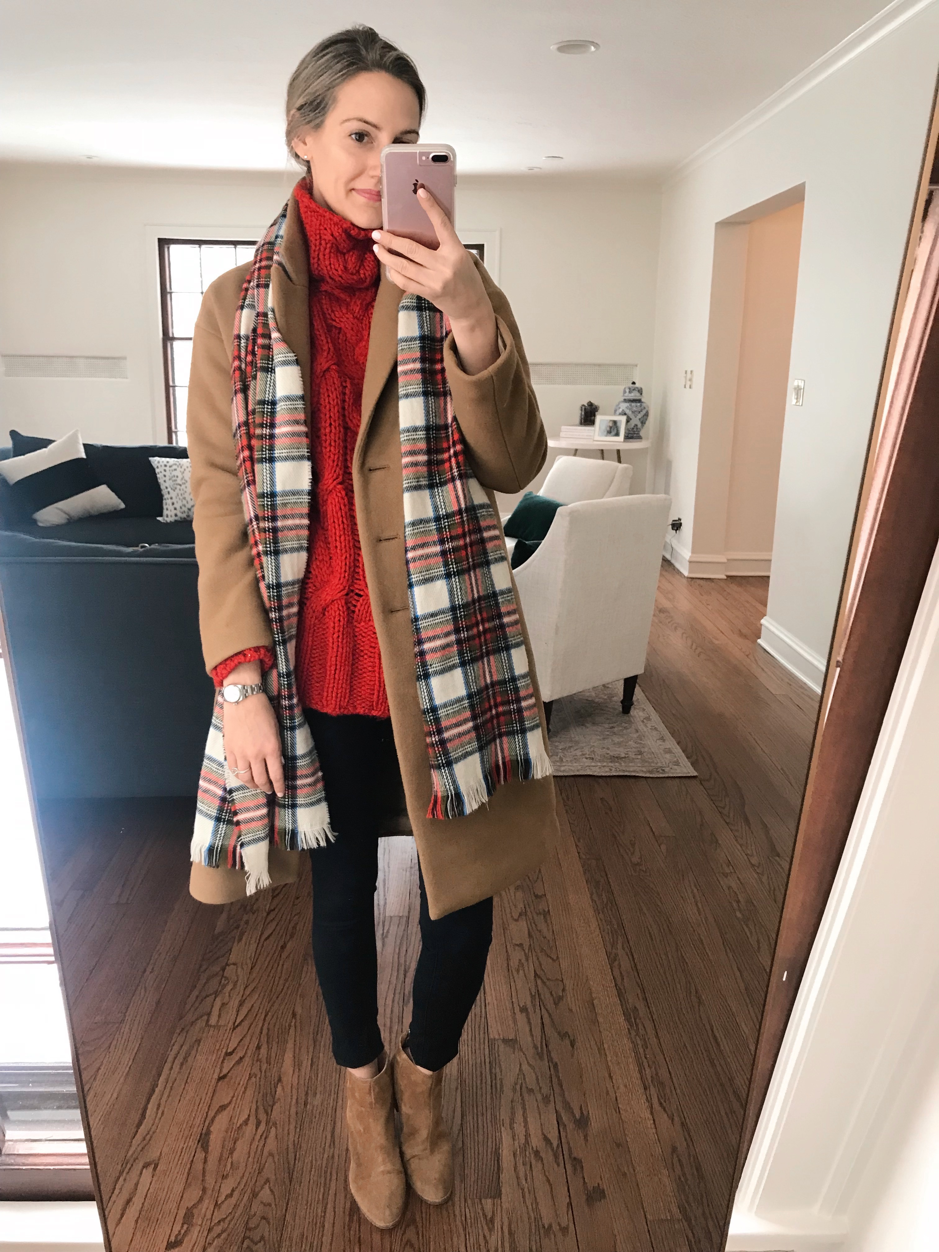 how to style camel coat red plaid