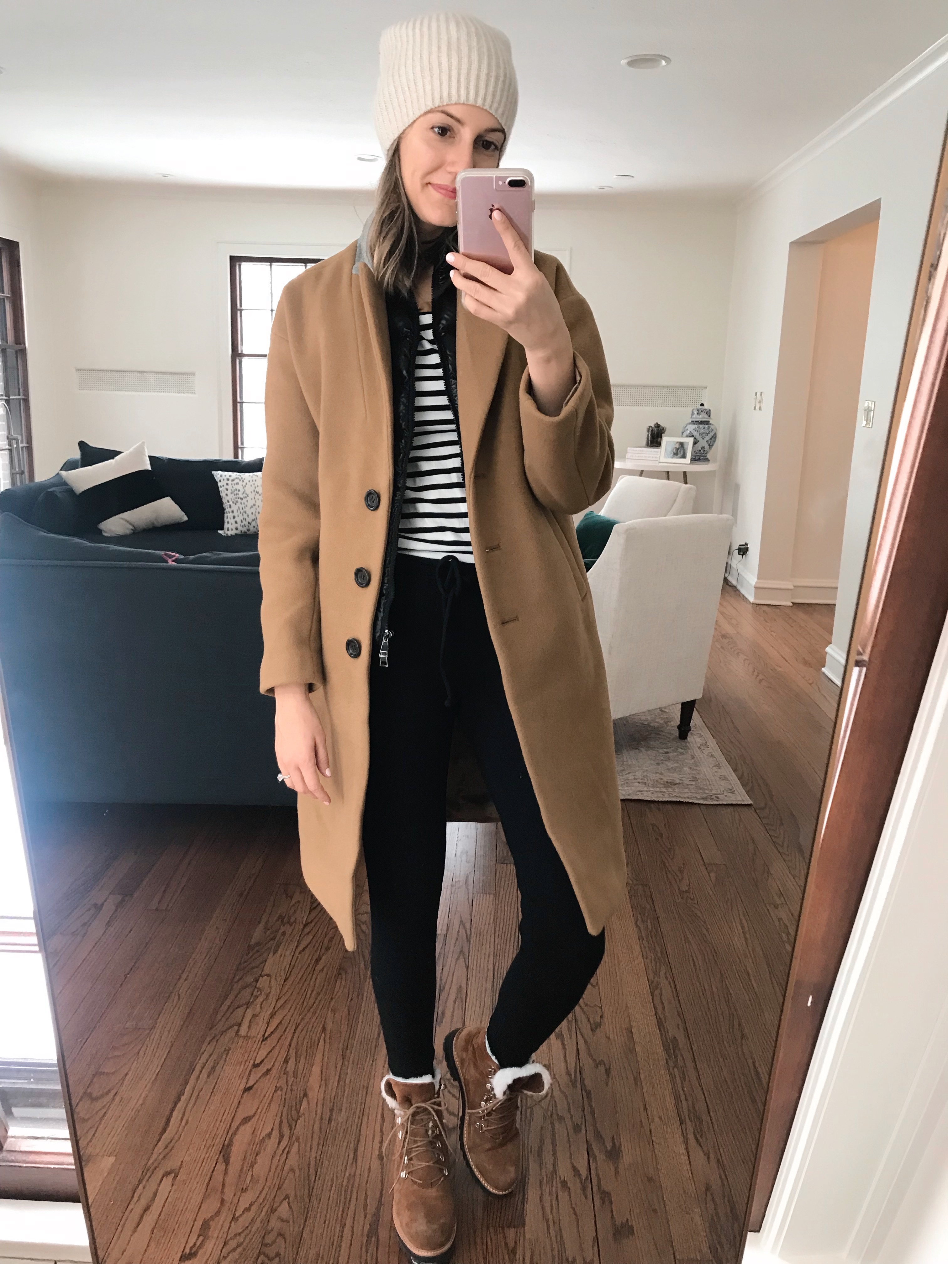 how to style camel coat casual combat boots moncler