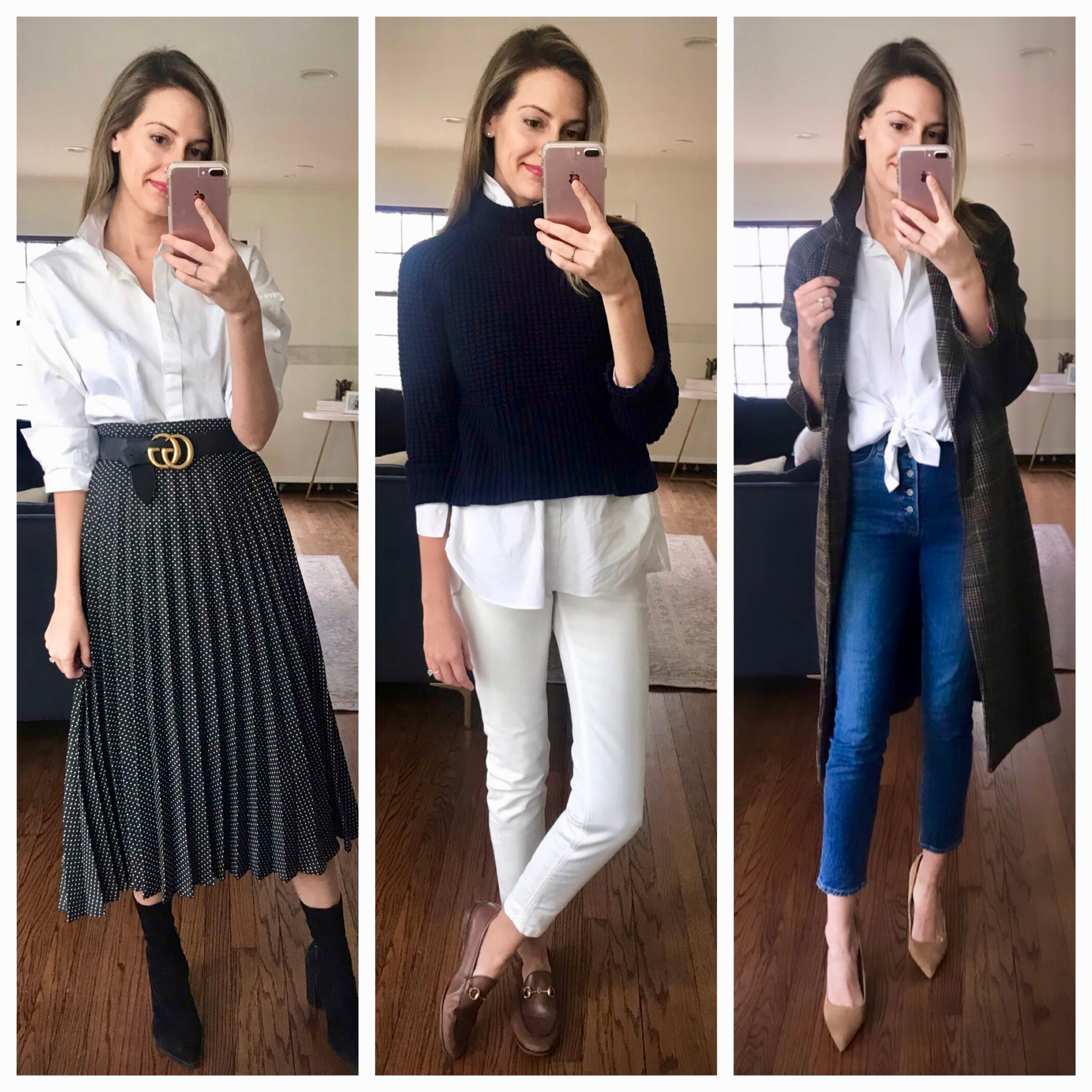 shop your closet - classic white button-up styled 3 ways
