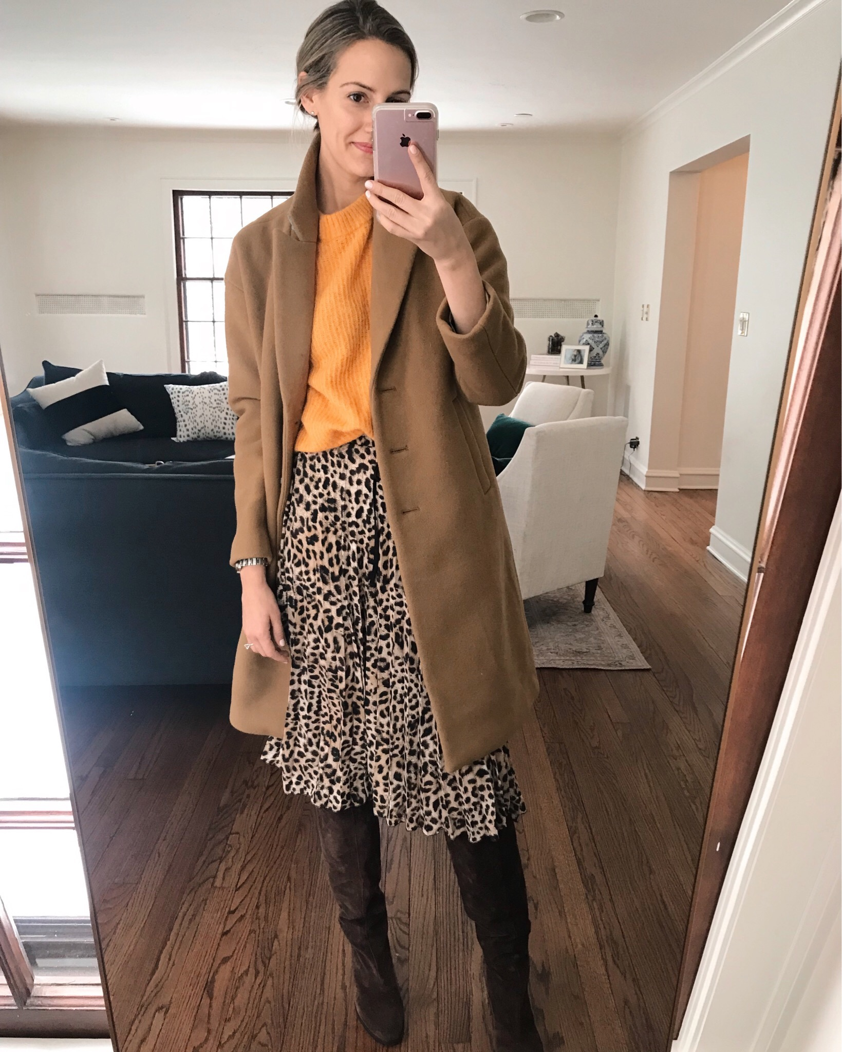 how to style camel coat leopard