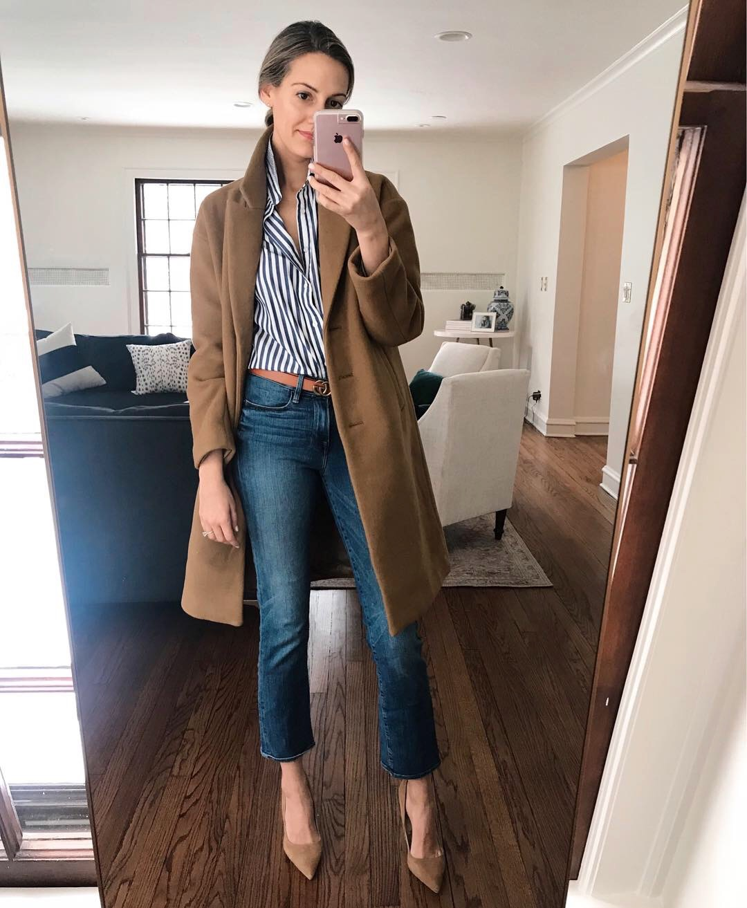 how to style camel coat preppy