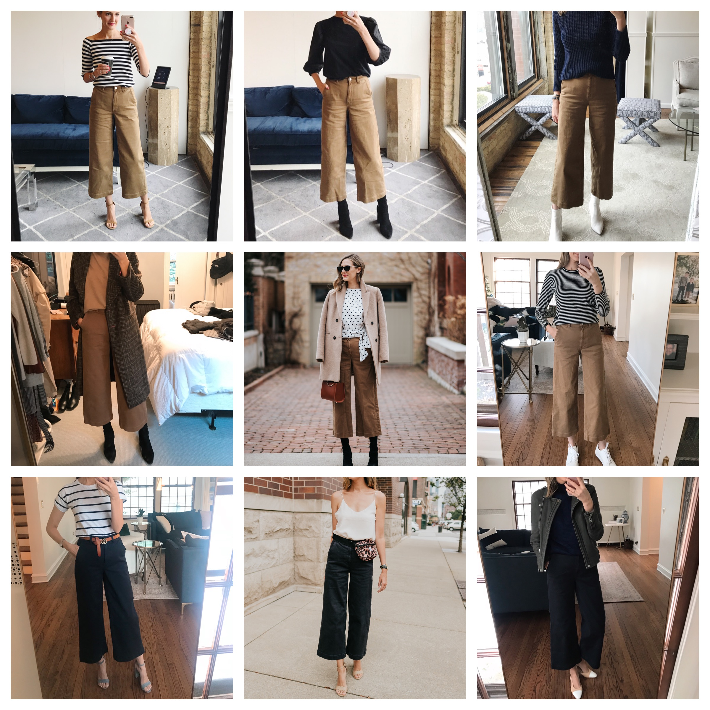nine ways to wear everlane wide-leg crops