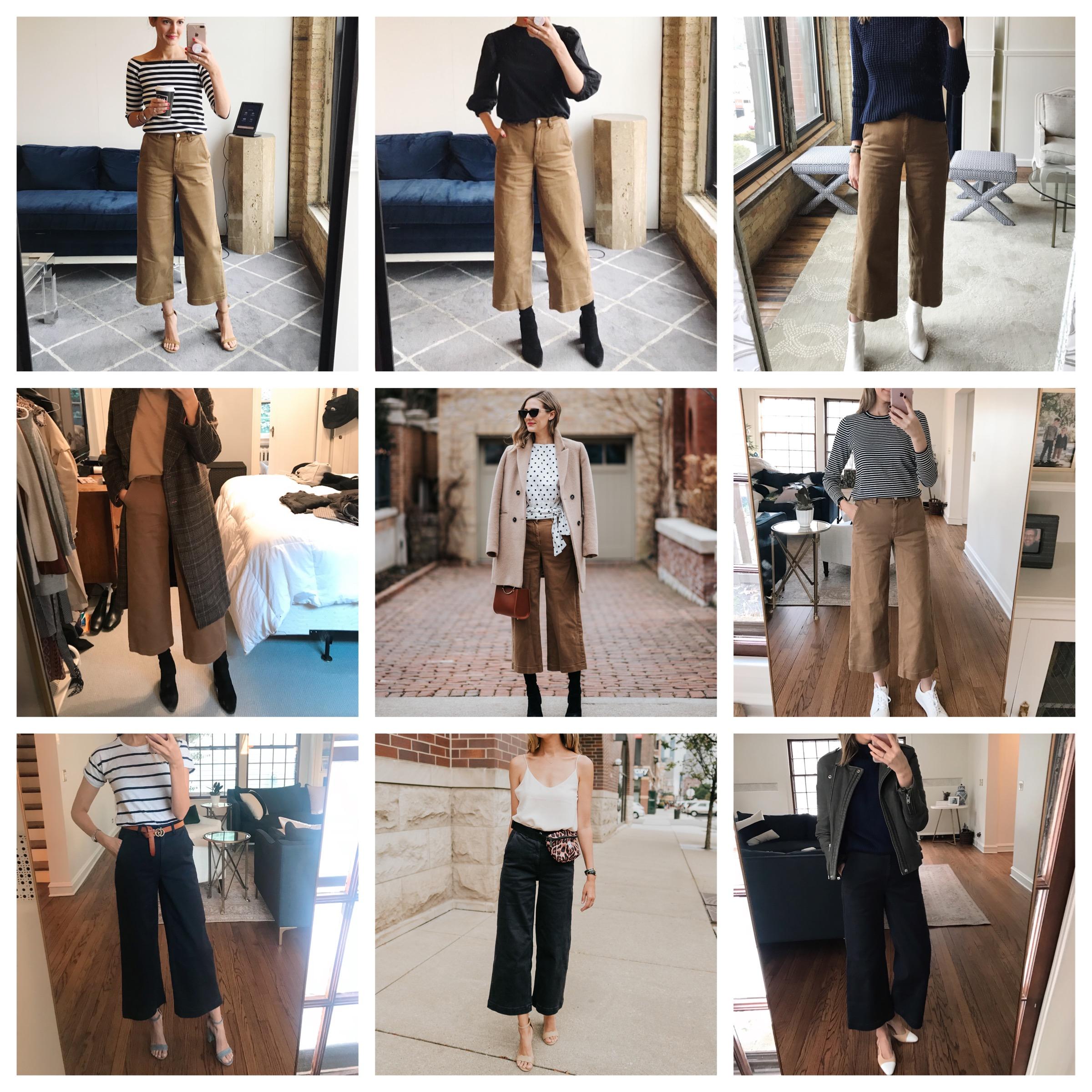 nine ways to wear everlane wide-leg crops