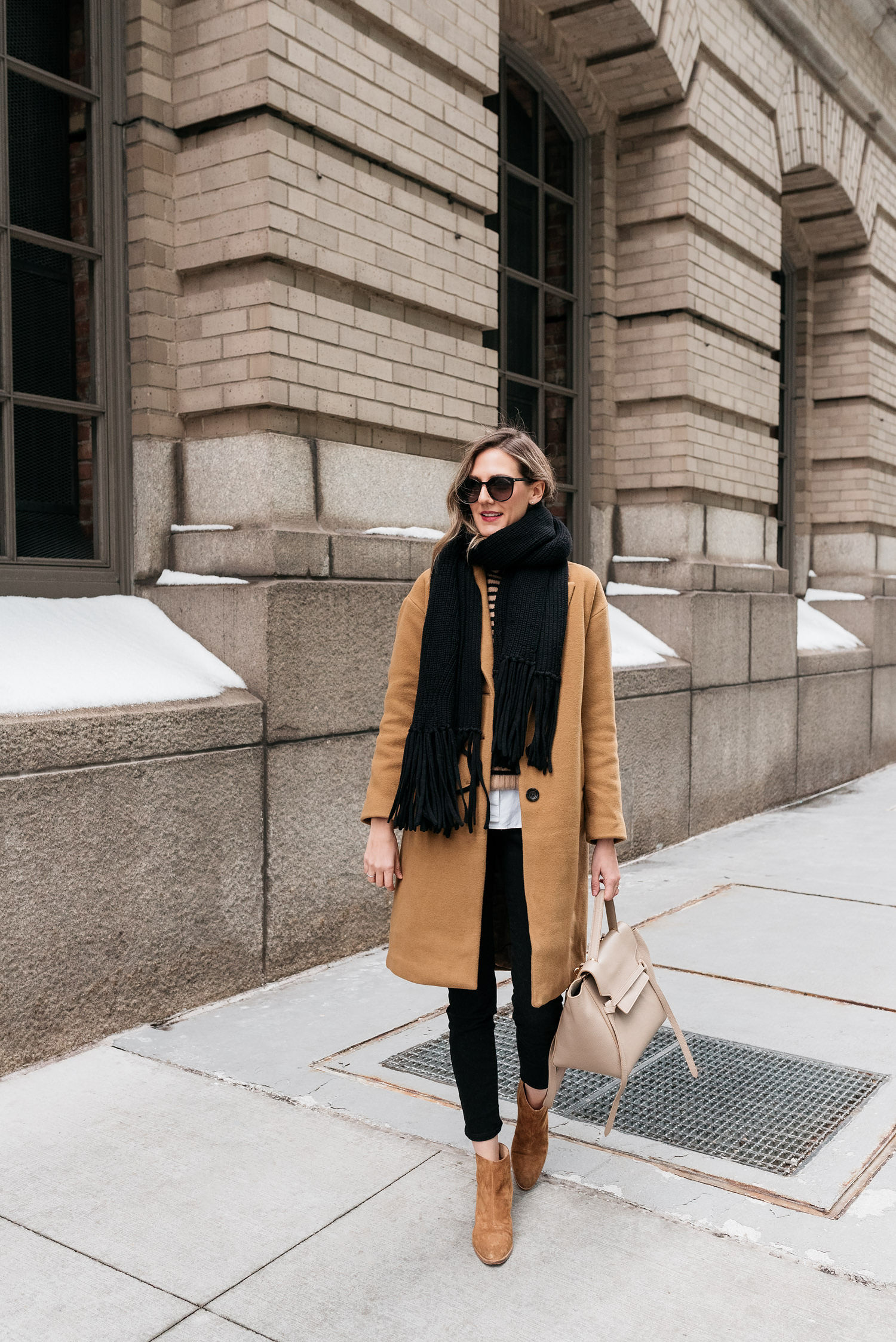 cold weather outfit inspiration camel coat celine bag