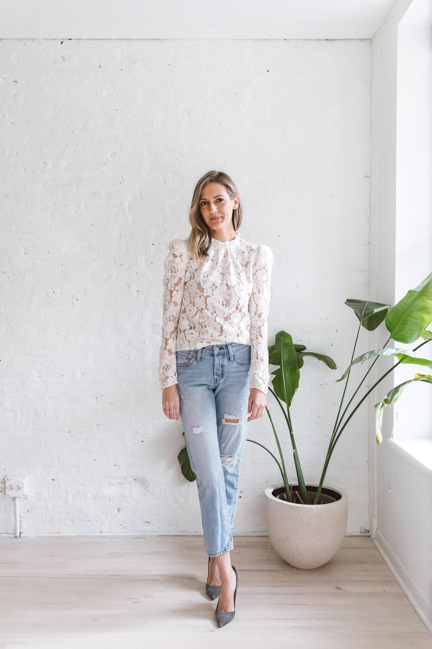 lace top with boyfriend jeans