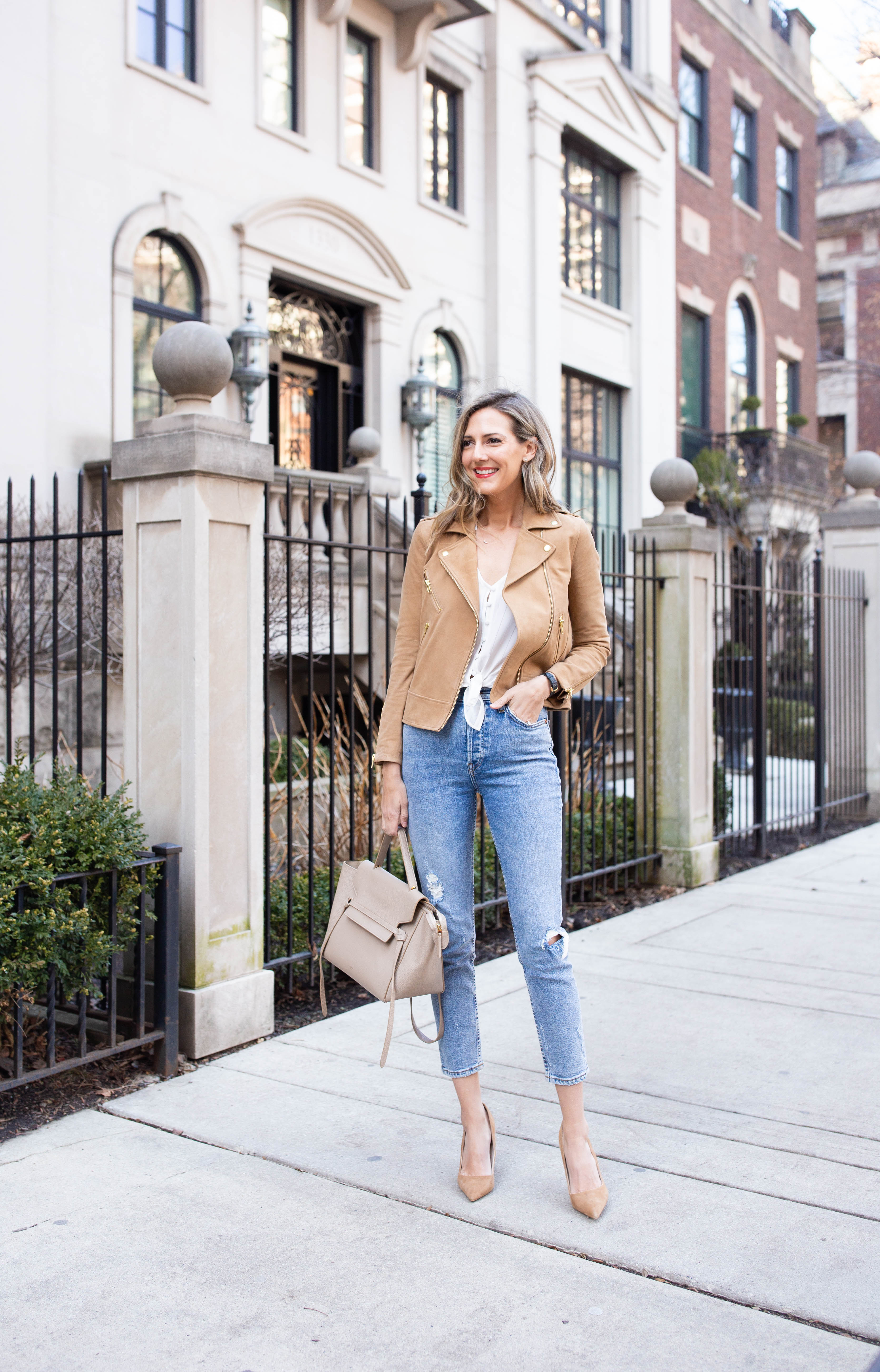 spring outfit jeans suede jacket