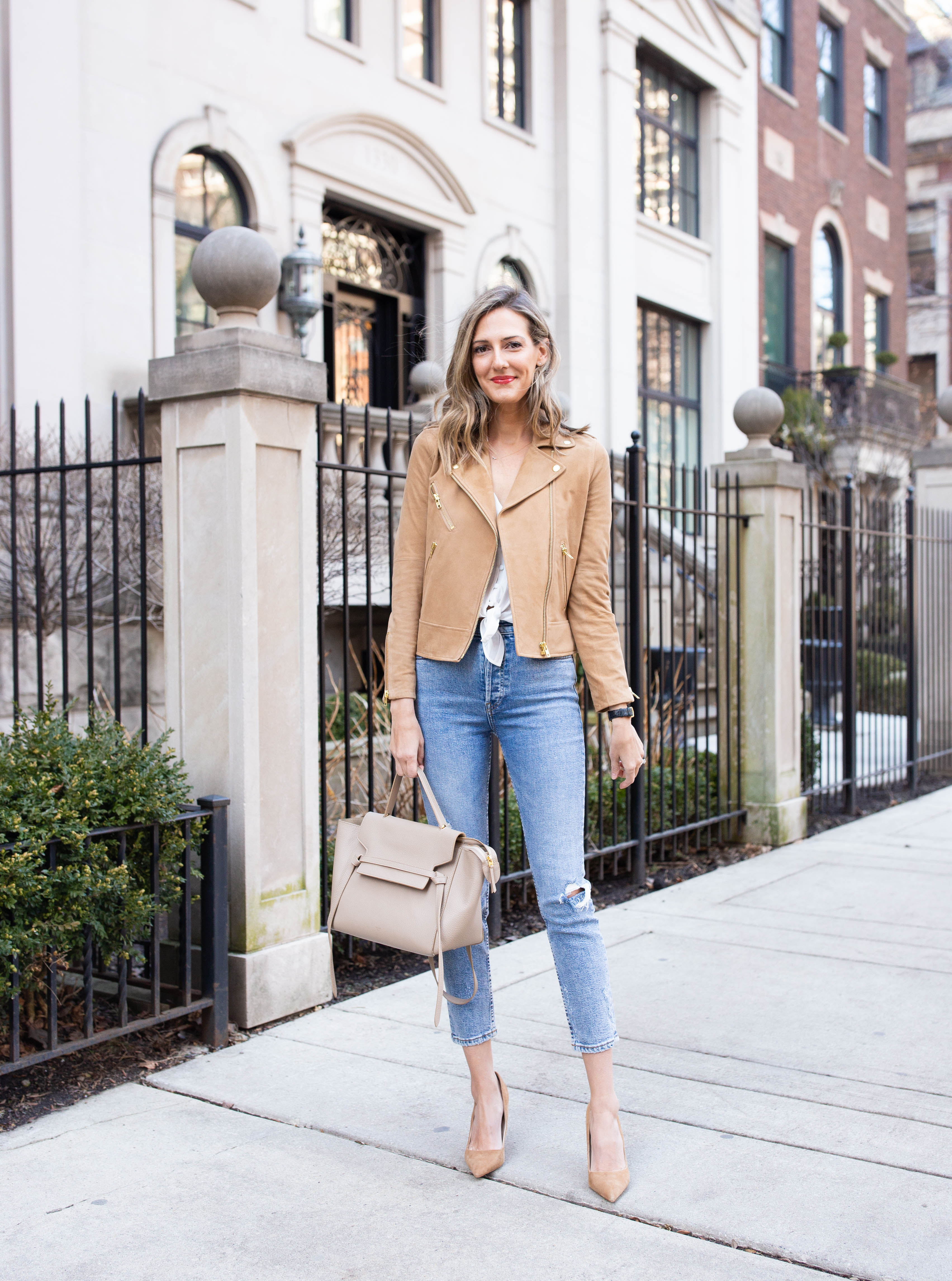 intermix spring outfit jeans suede jacket