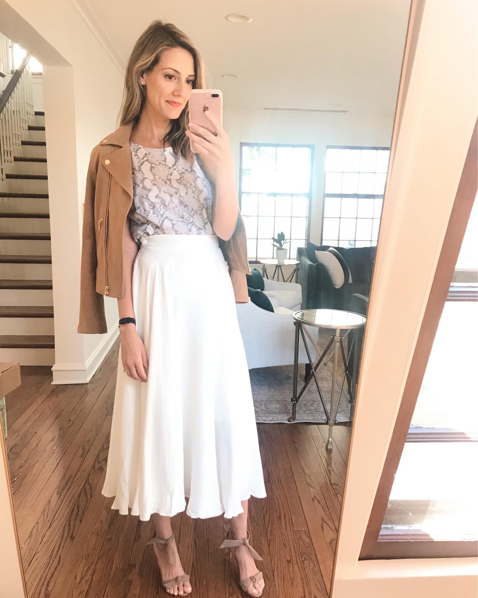 white midi H&M spring outfit