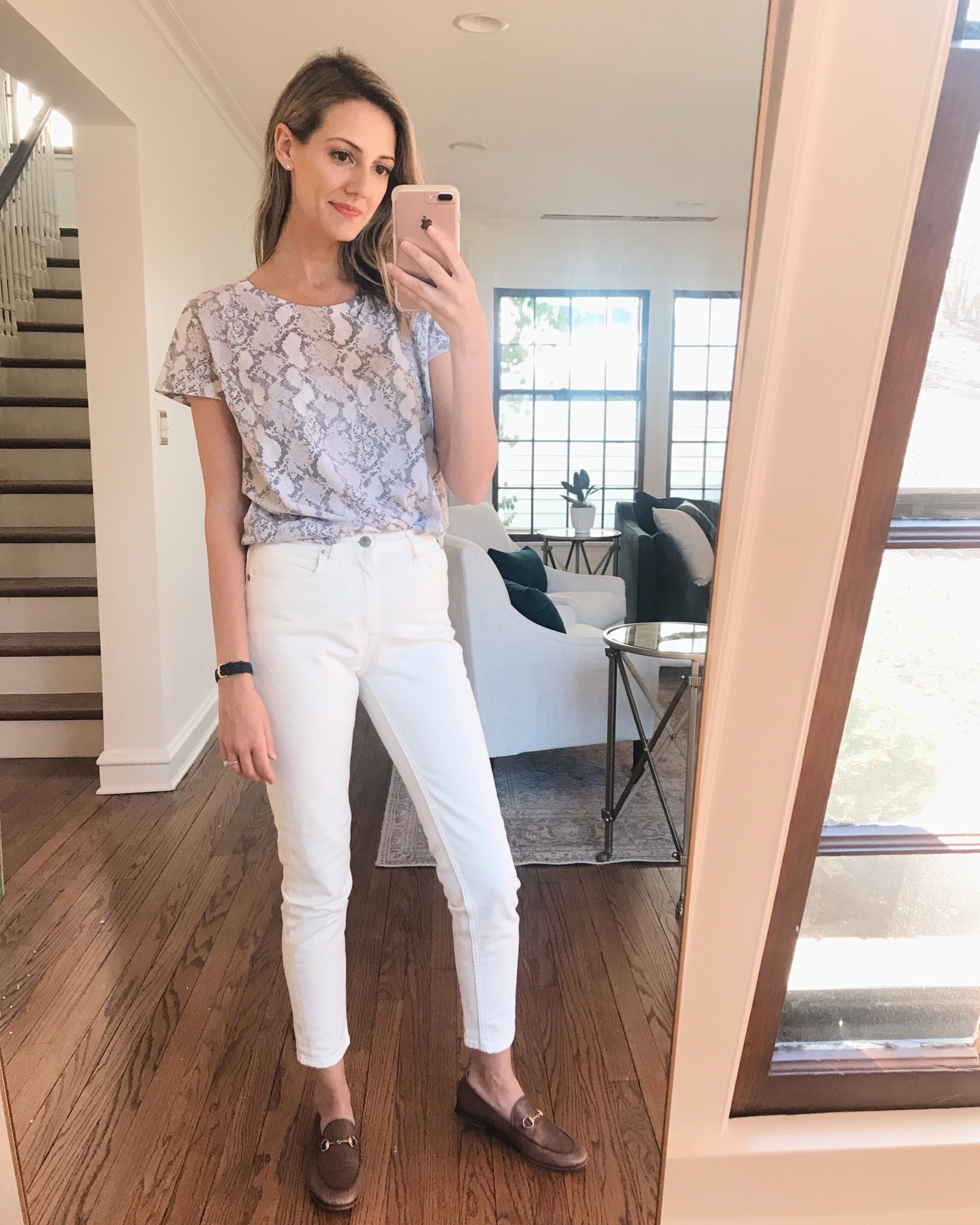 snakeskin H&M spring outfit