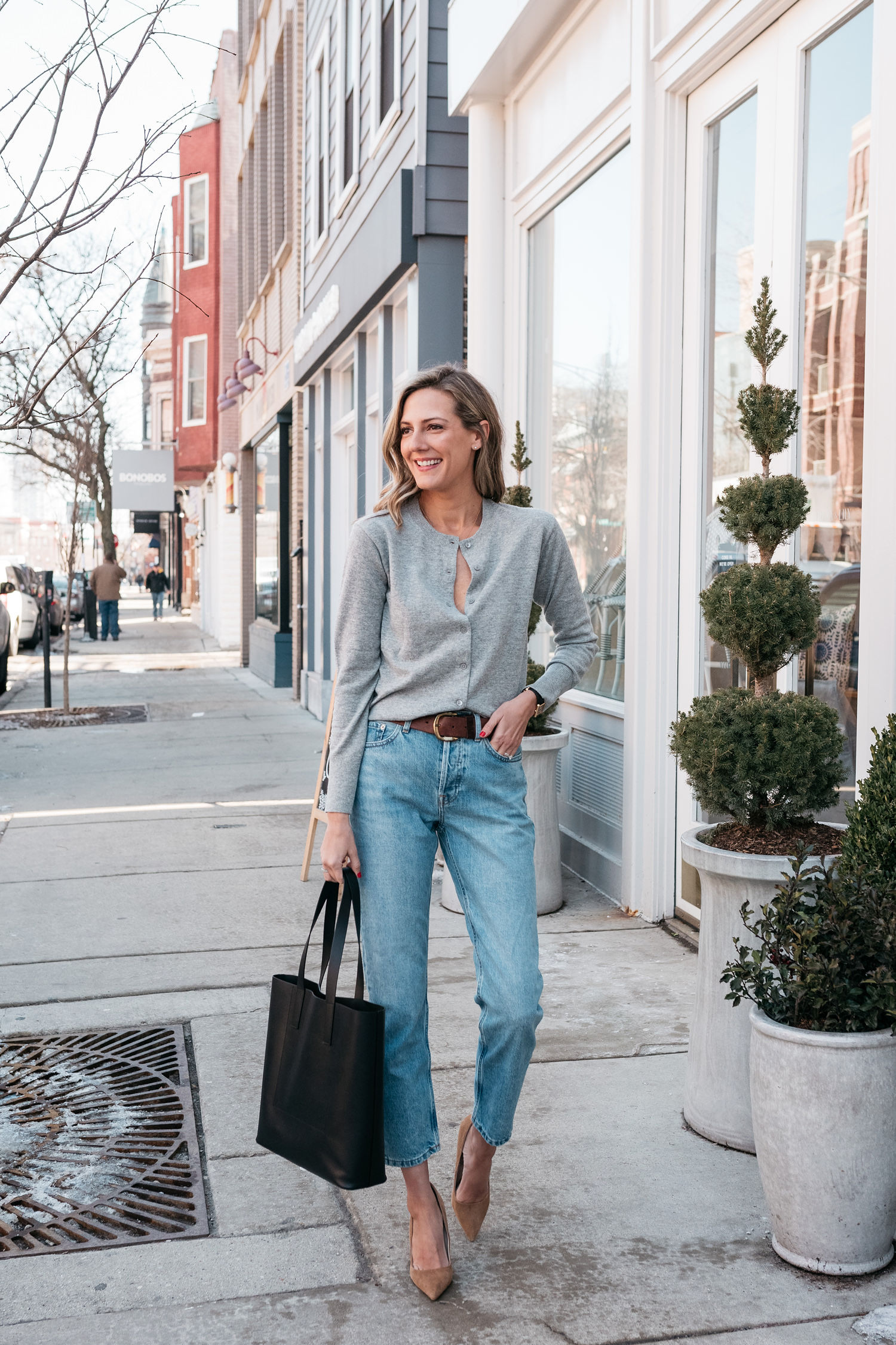 how to wear a cardigan with jeans