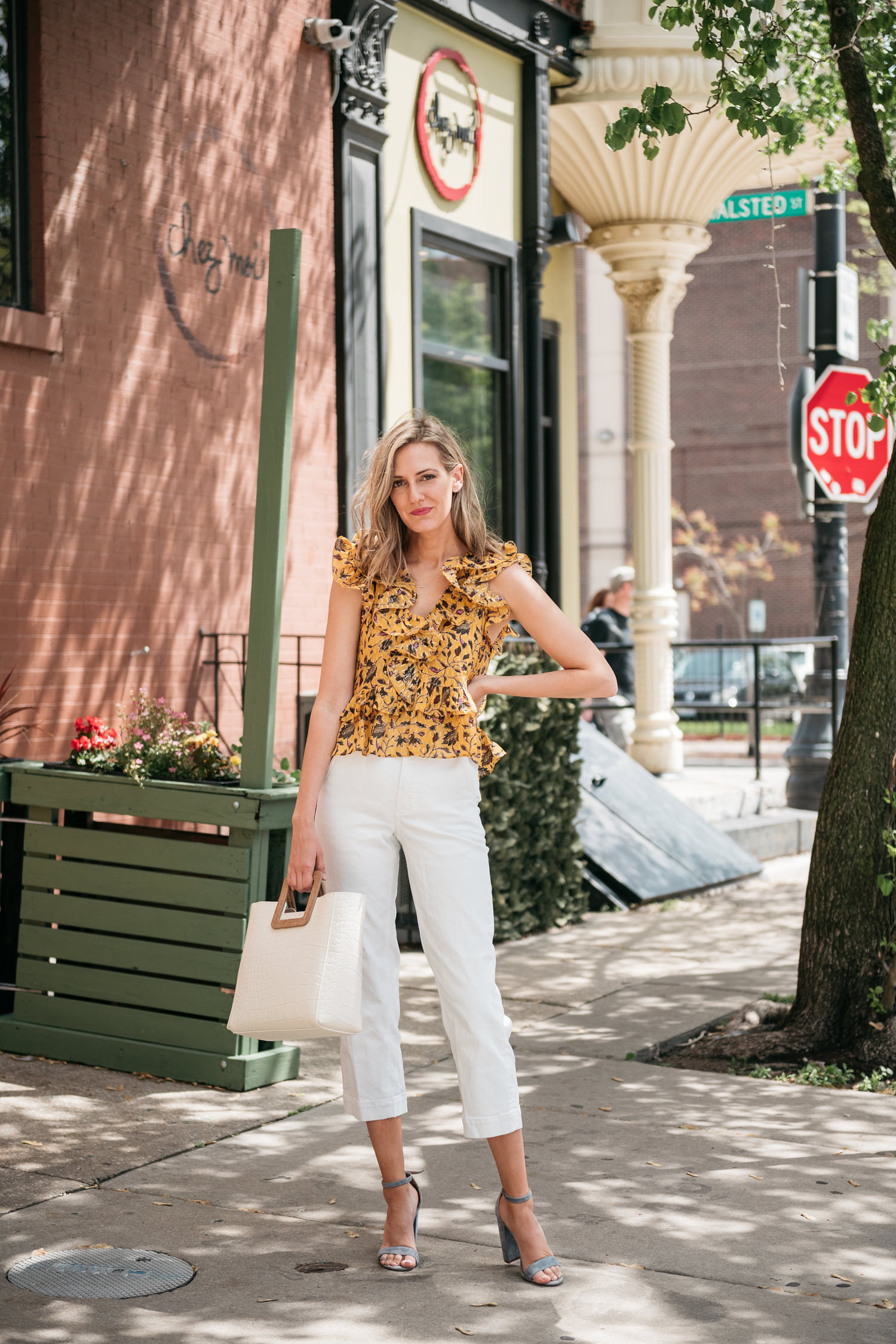 white pants yellow top summer