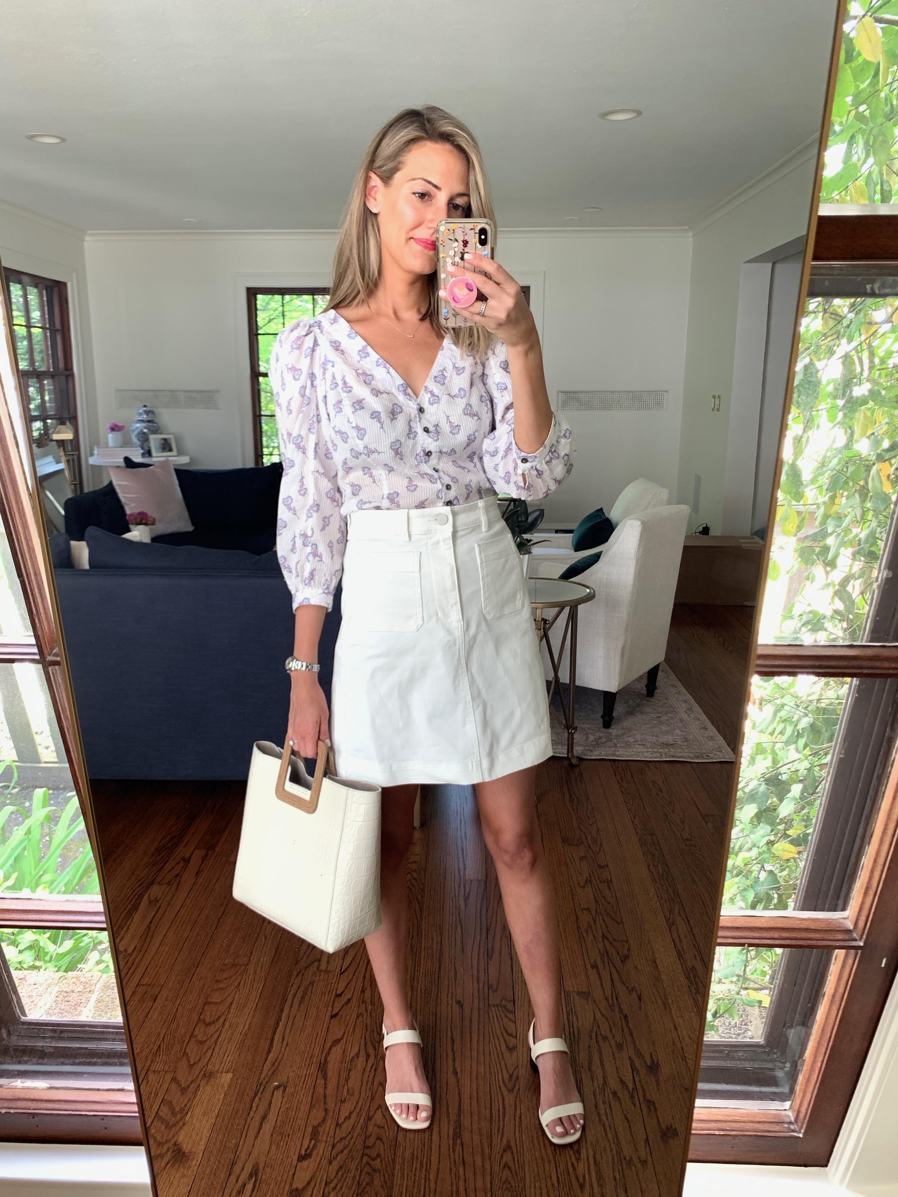 feminine white skirt look