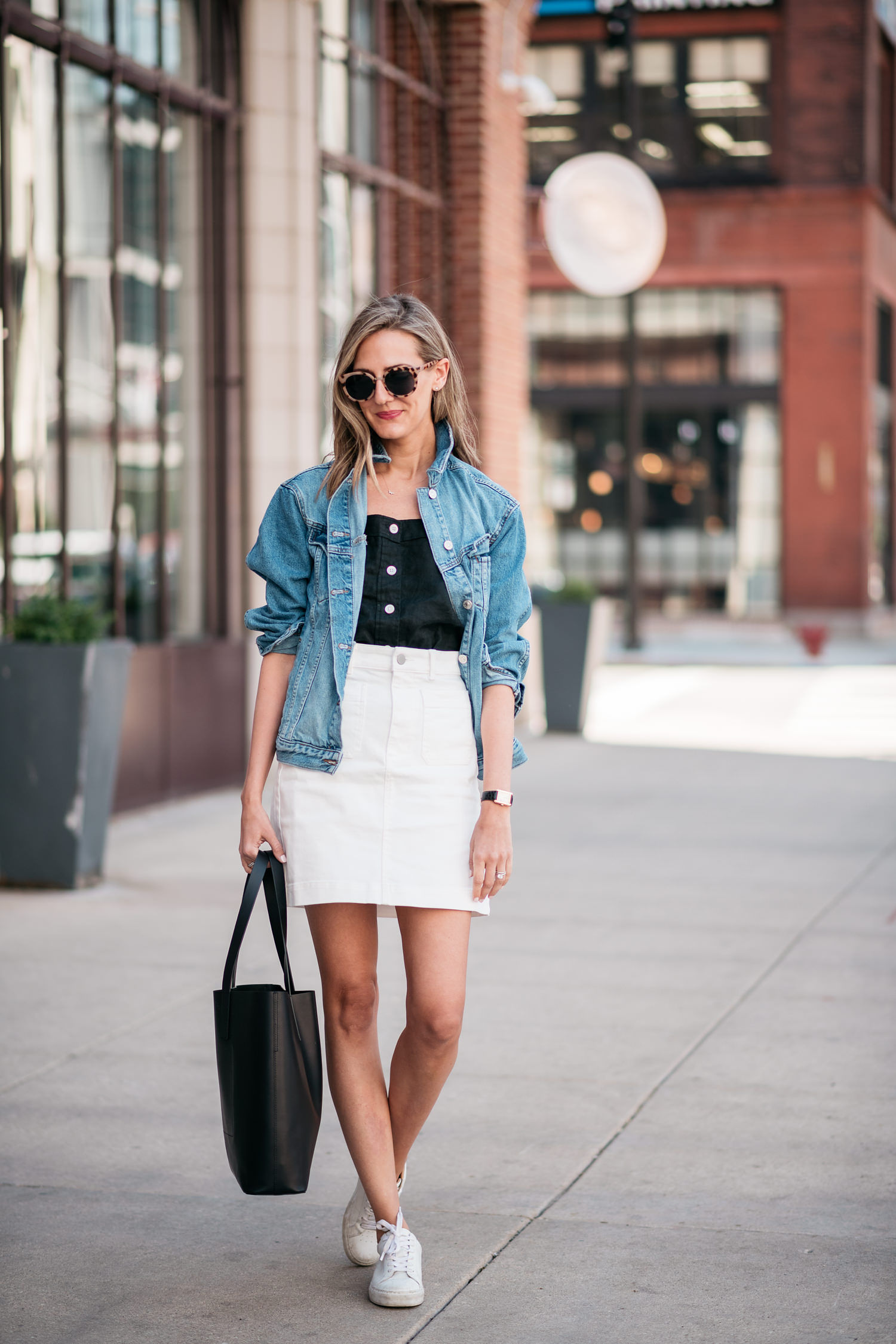 white skirt with sneakers