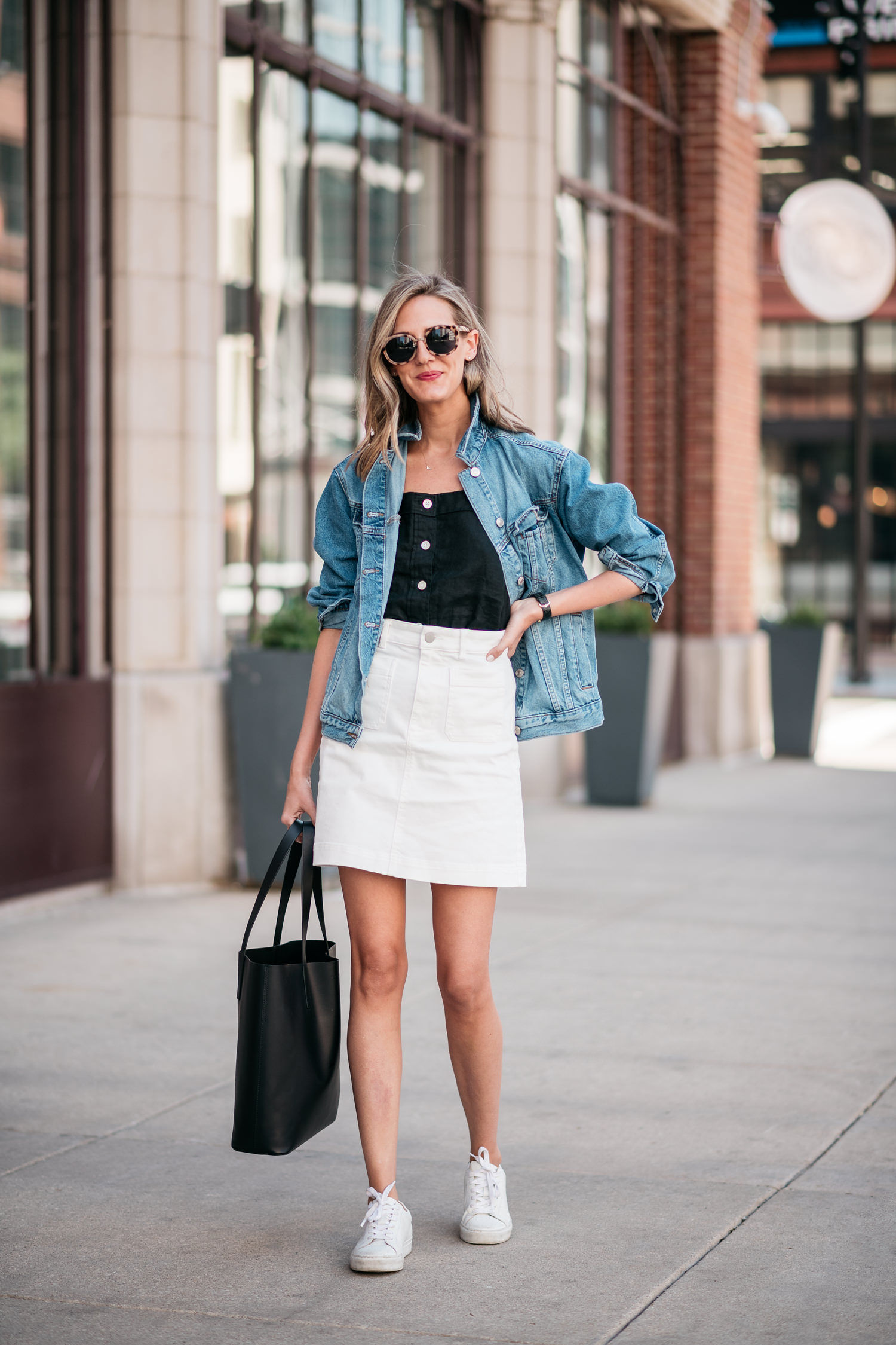 white skirt with jean jacket