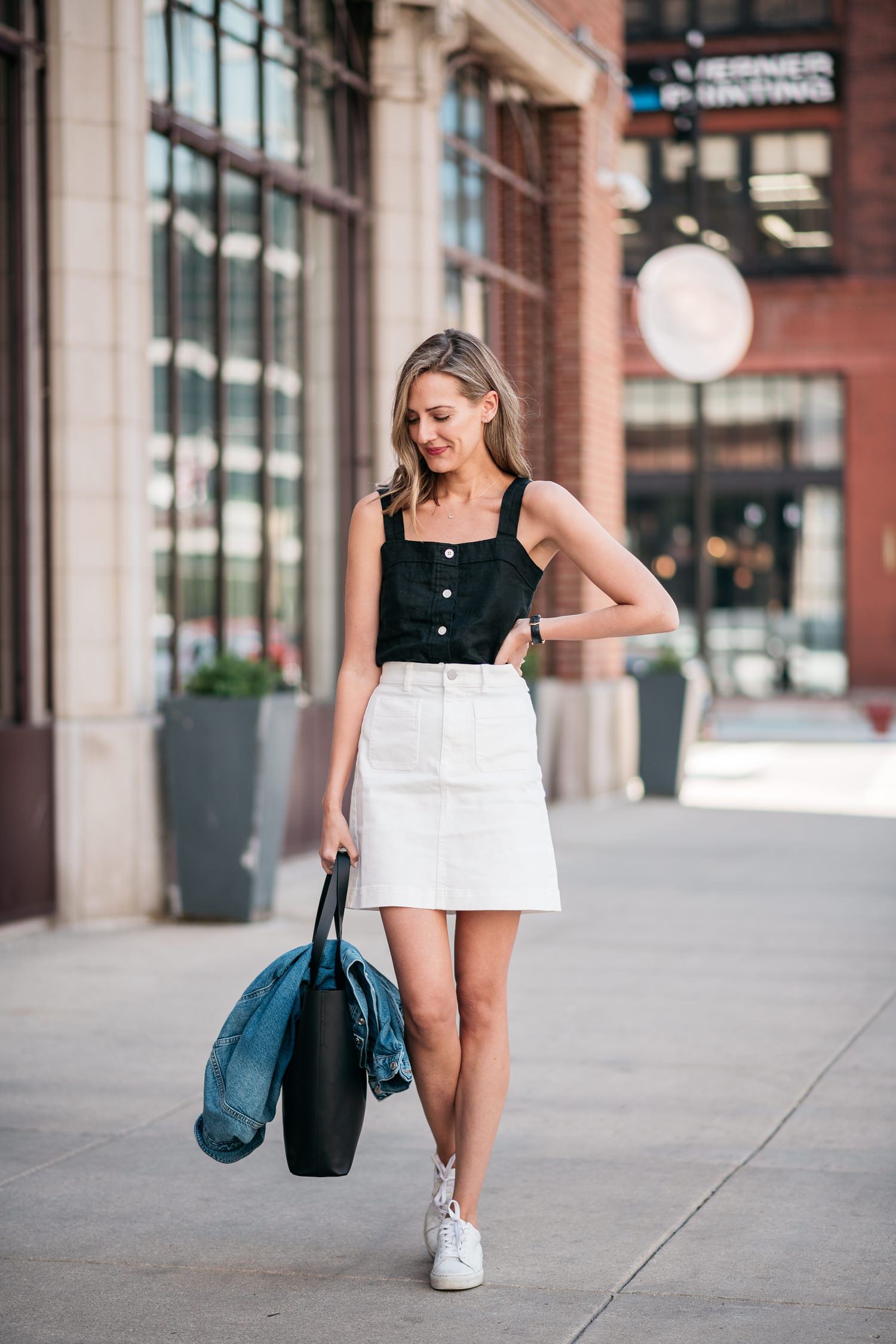 everlane outfit white skirt