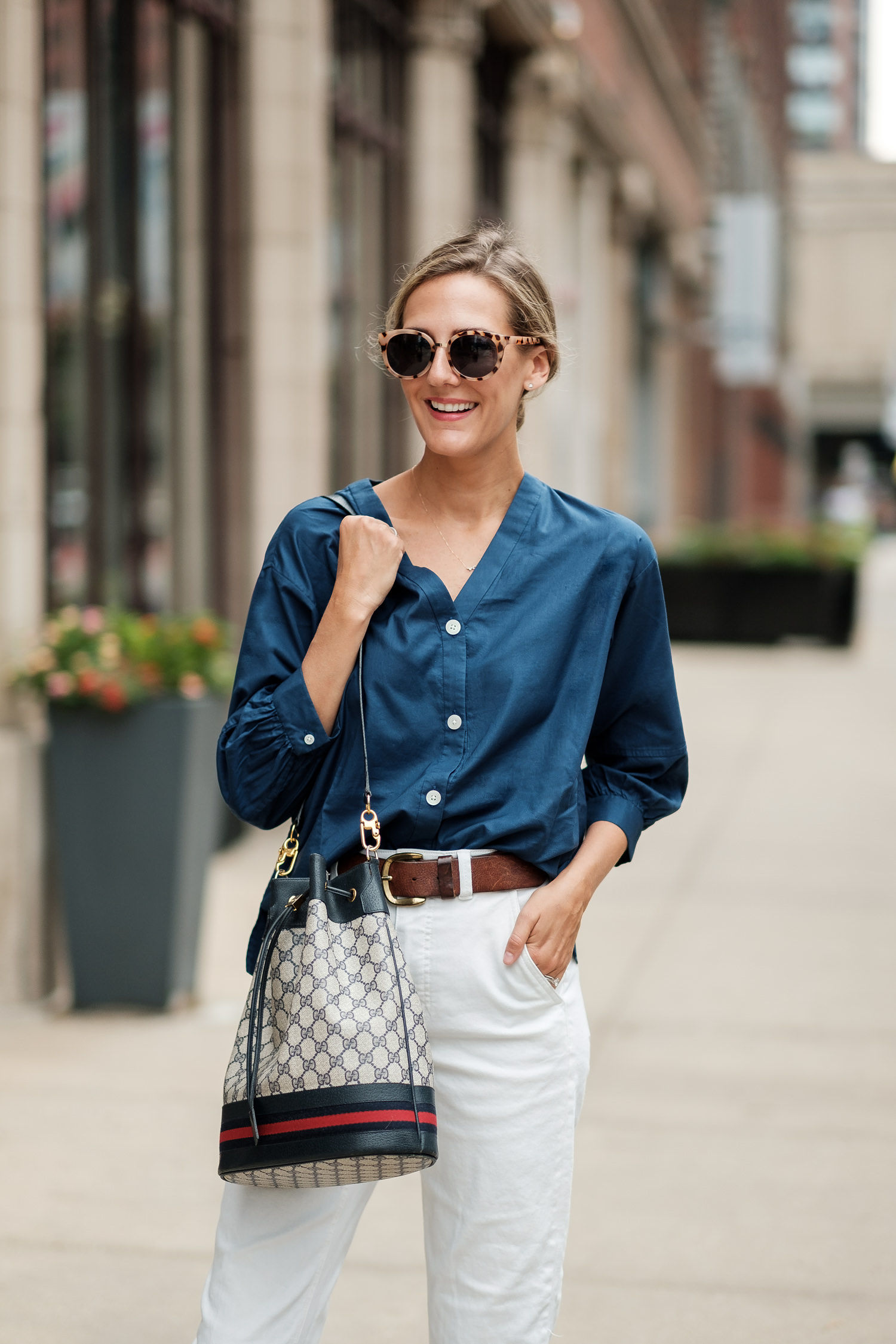fall transitional outfit navy blue