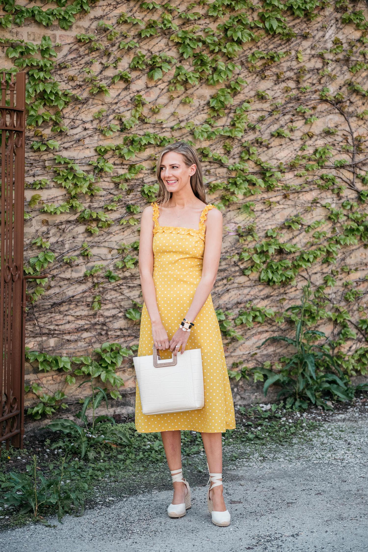 yellow dress staud bag