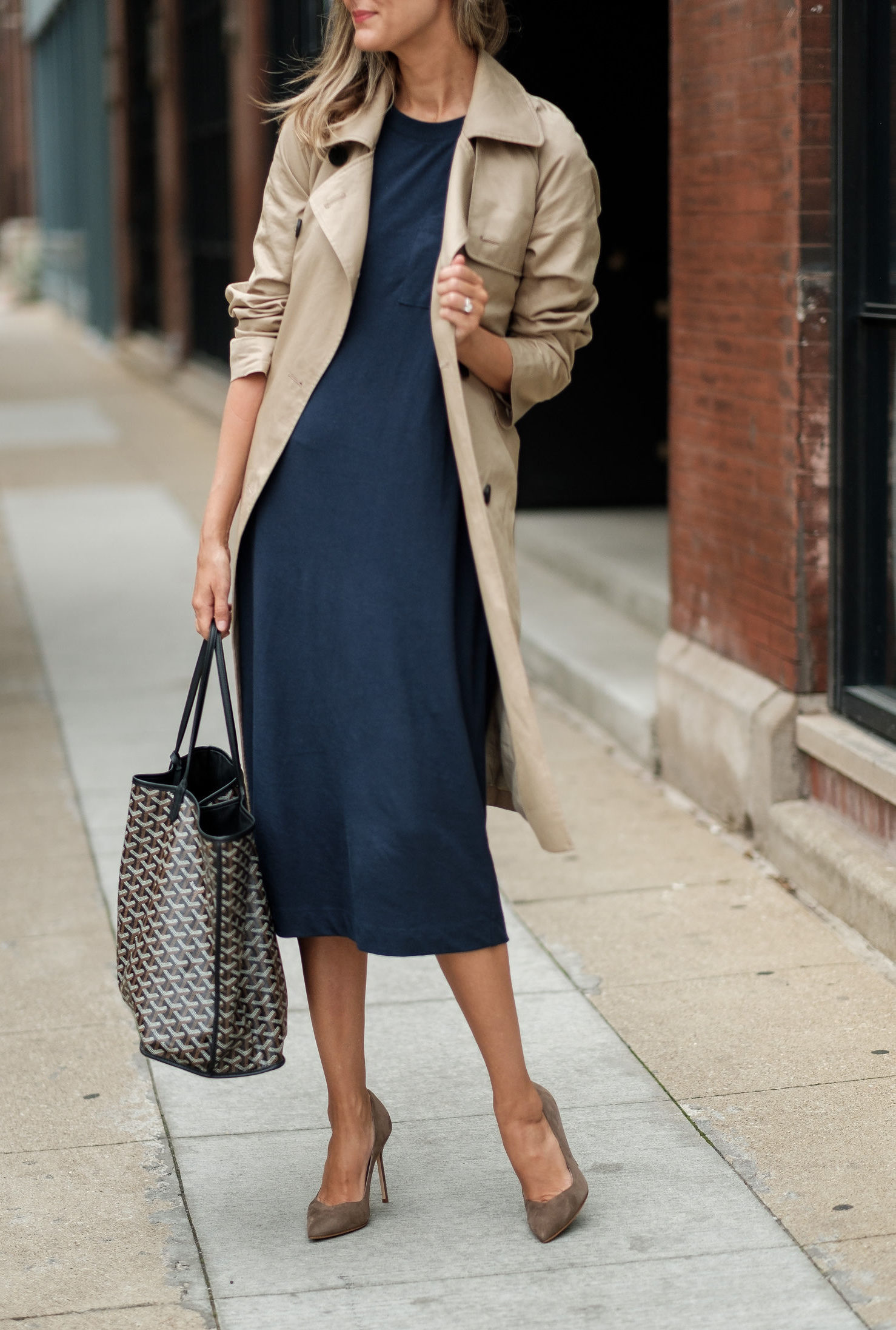 classic work outfit trench shirt dress