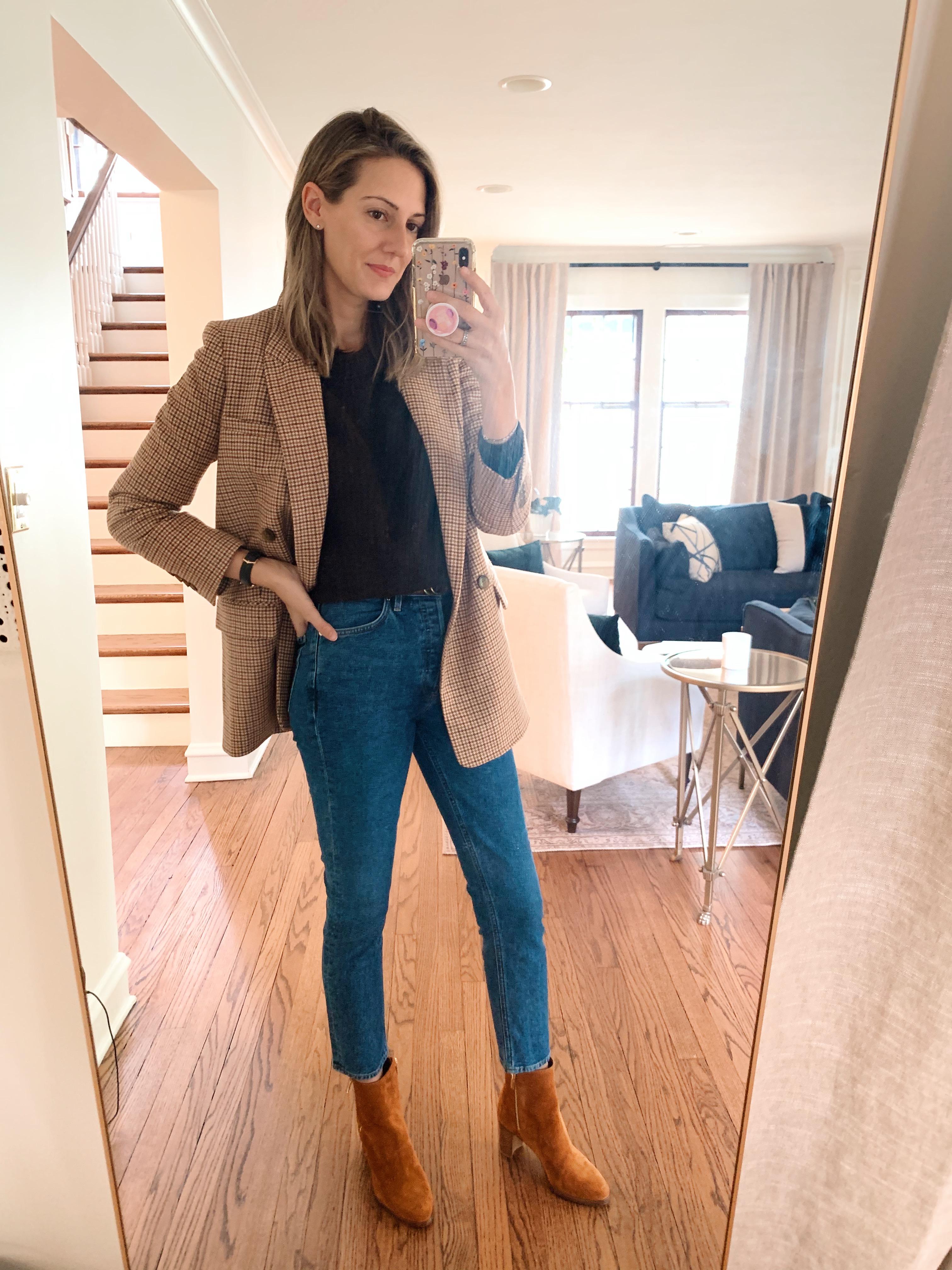 how to style plaid blazer