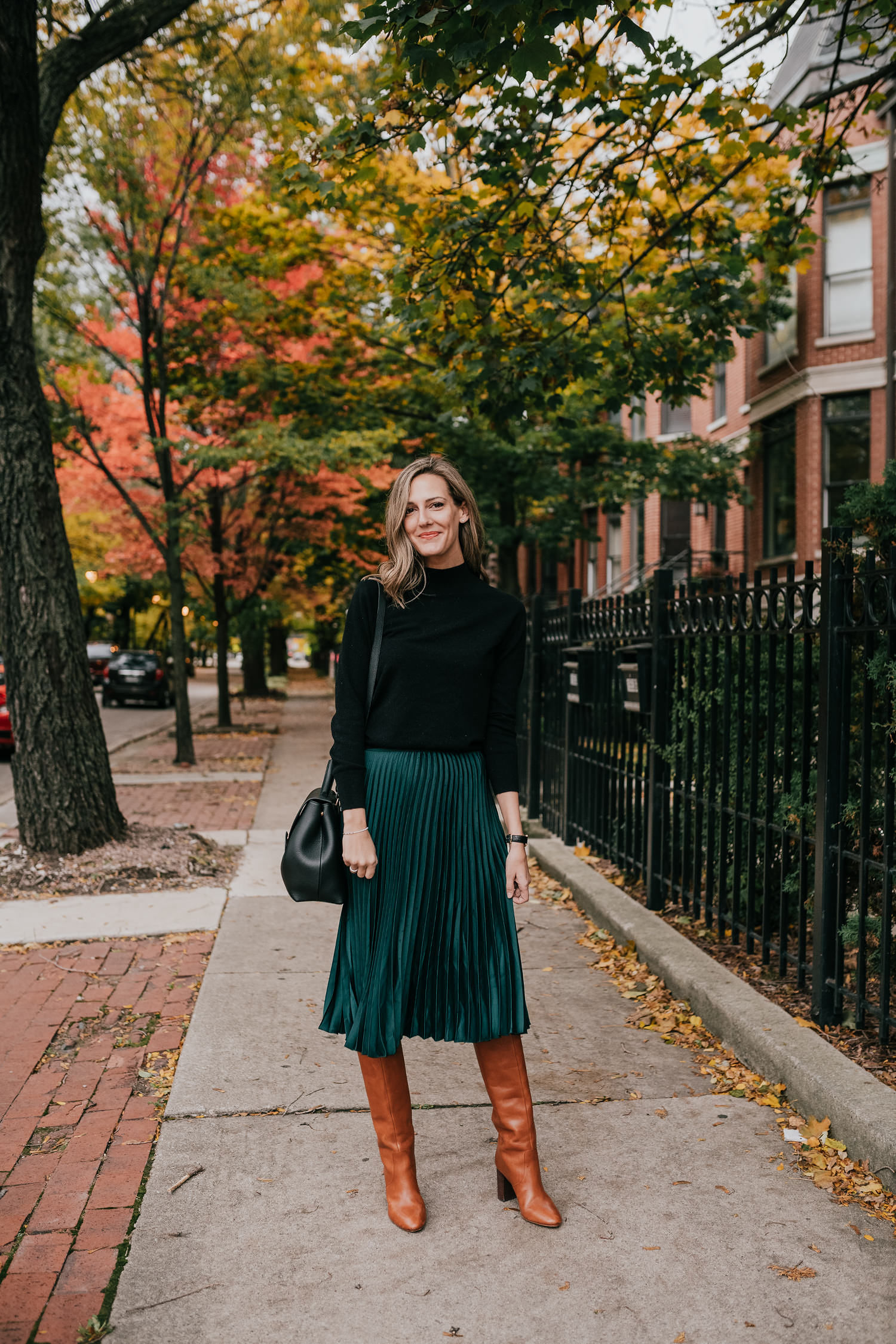 easy holiday look green skirt