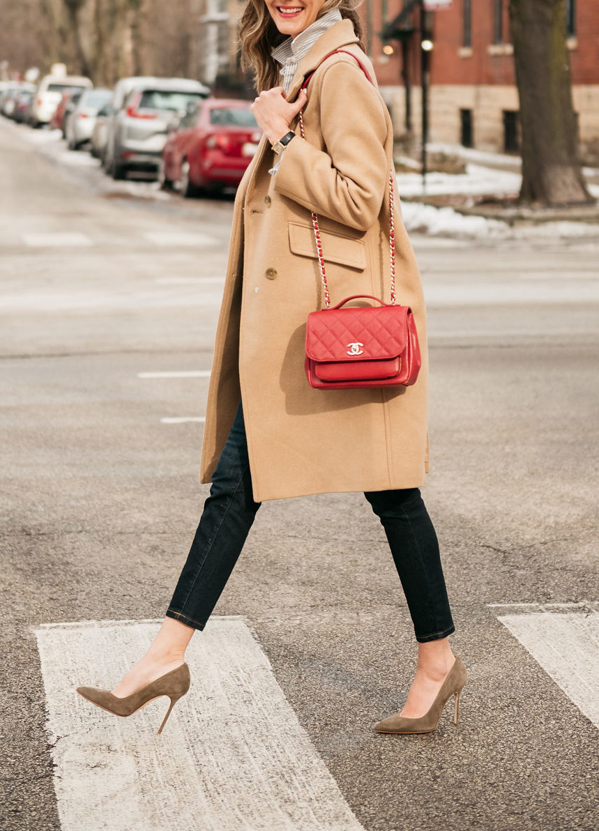 jeans and neutral coat