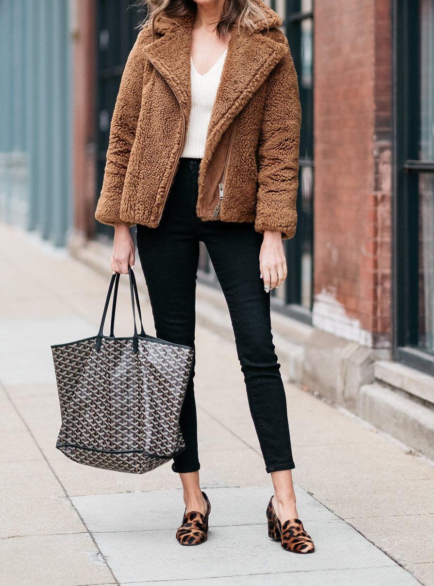 leopard shoe shearling coat