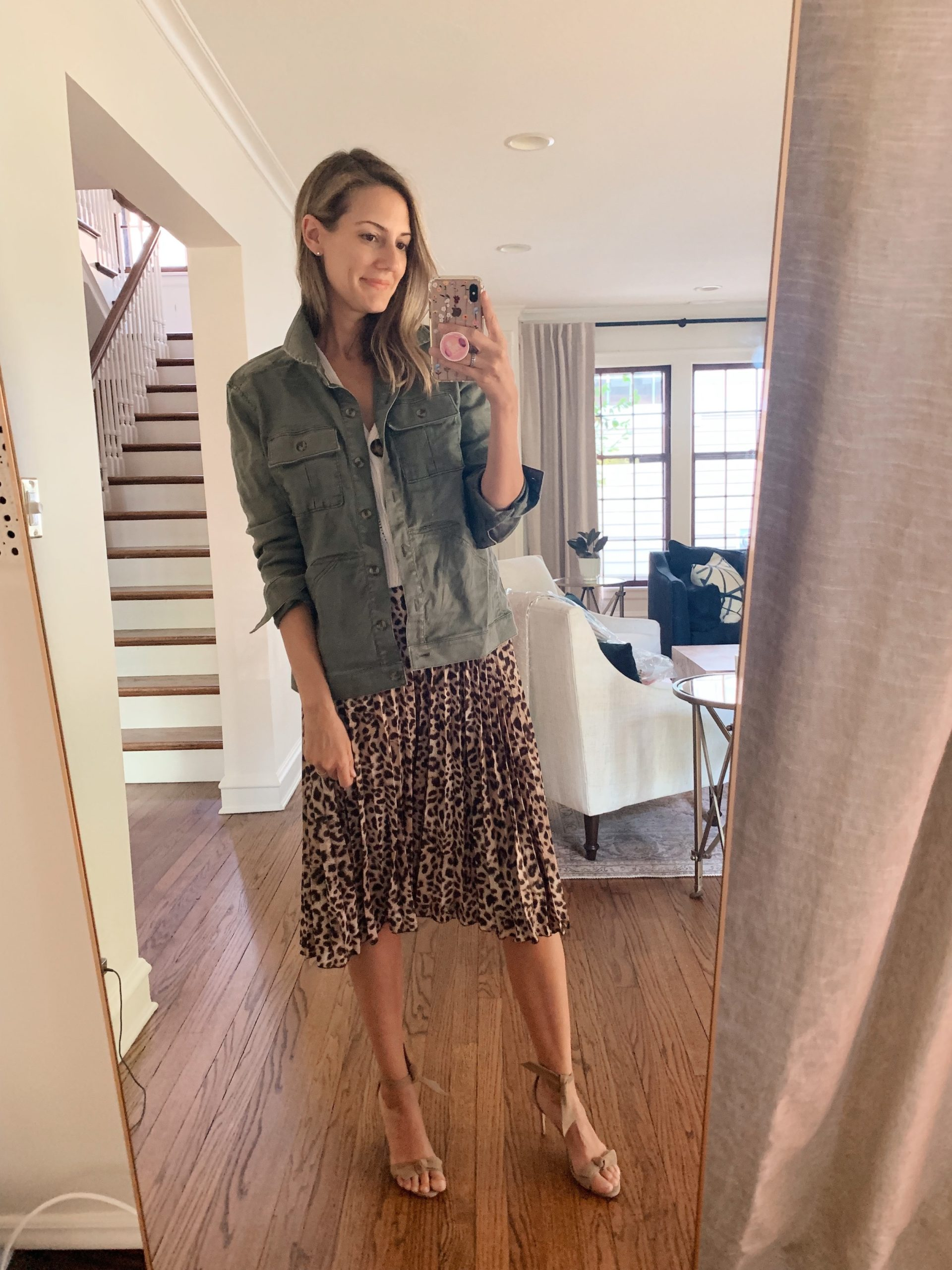leopard skirt with army jacket