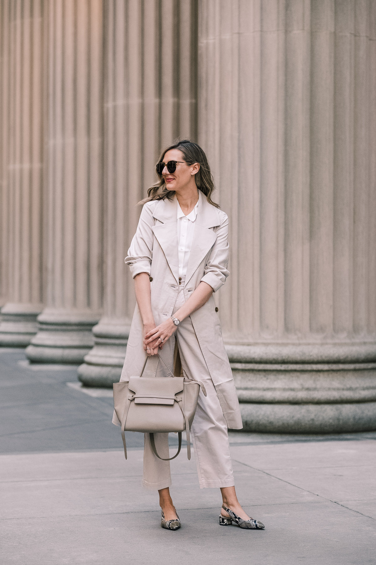 everlane drape trench spring office look