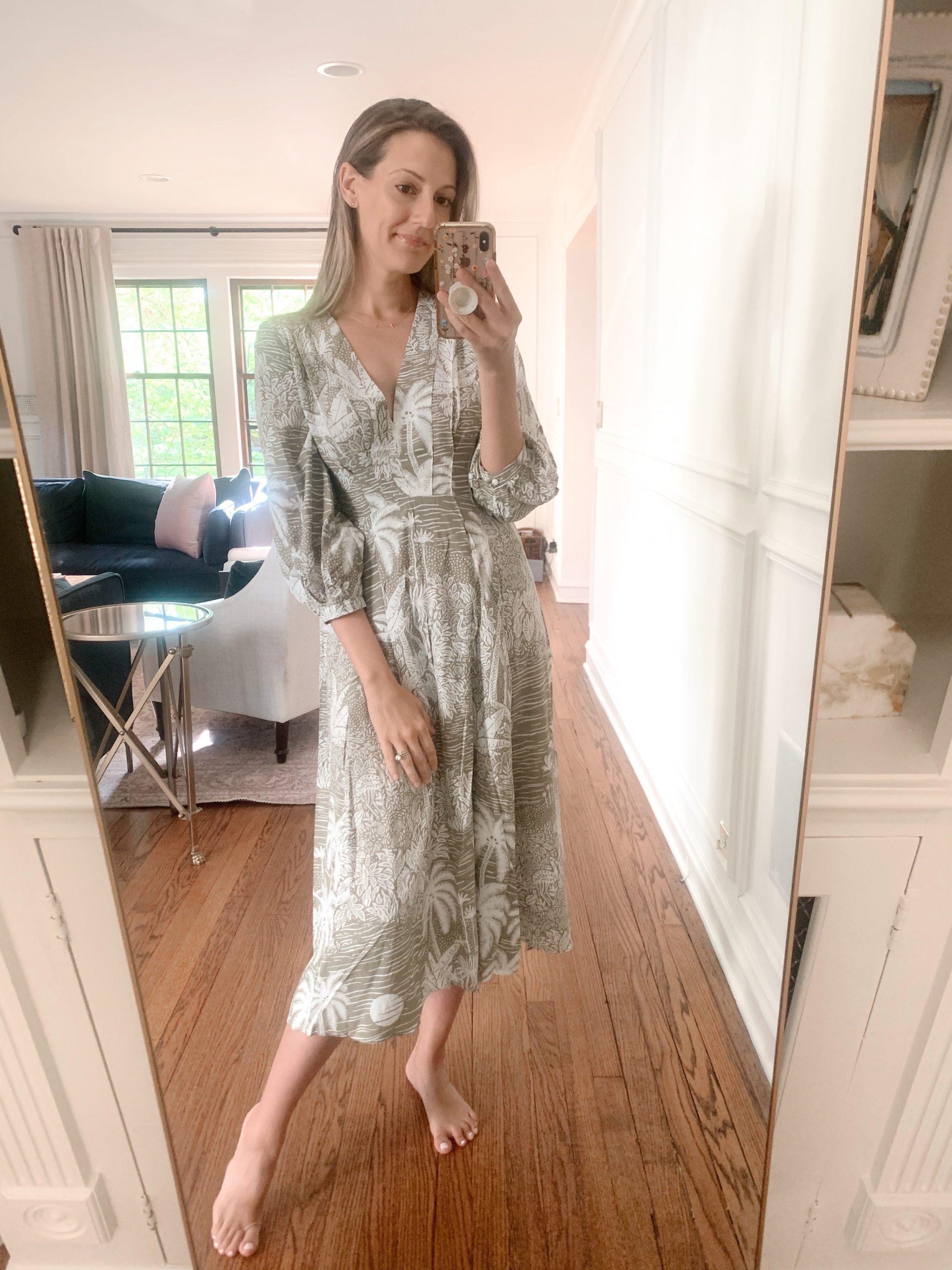 Desmond & Dempsey x H&M long-sleeve midi dress