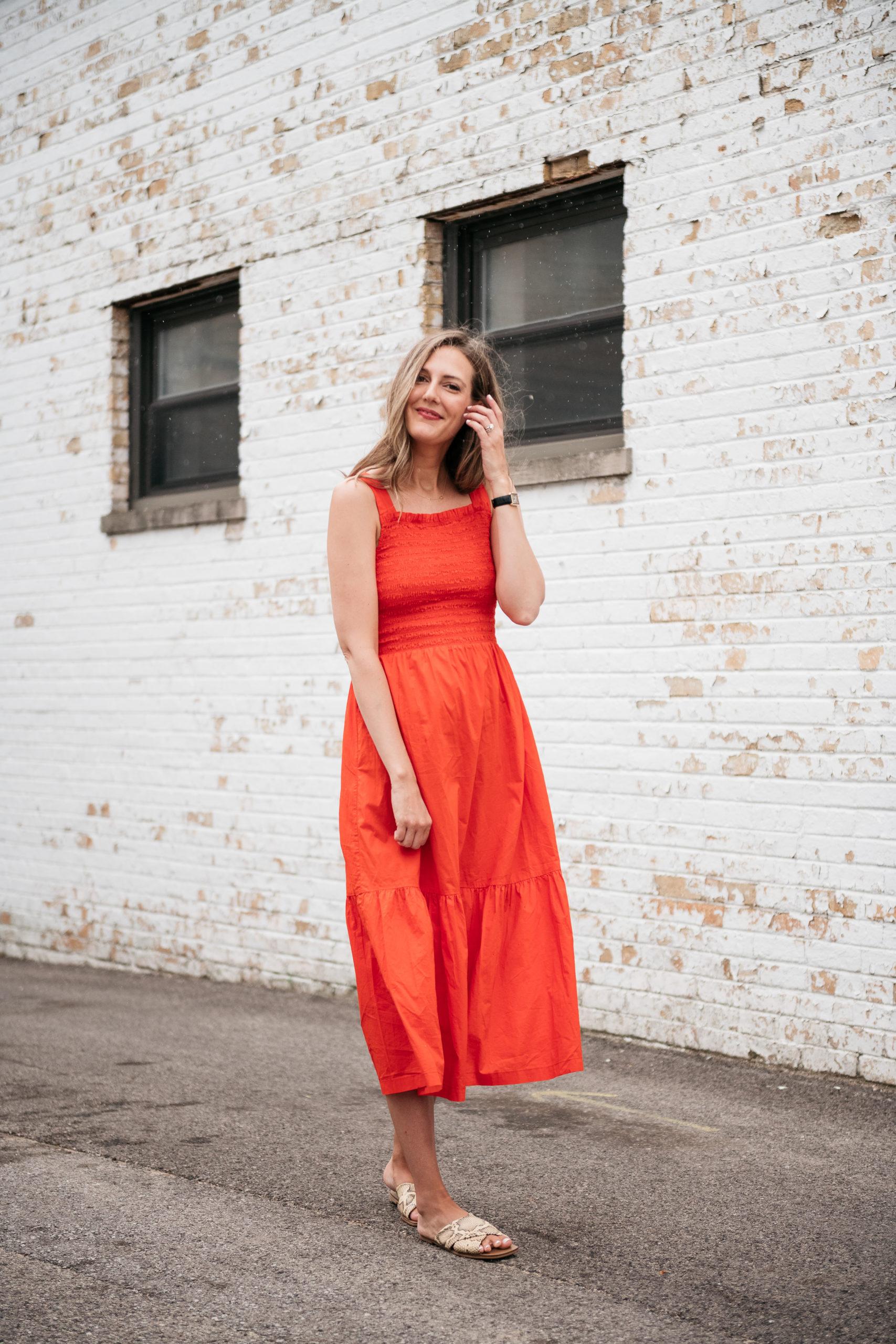 red everlane dress