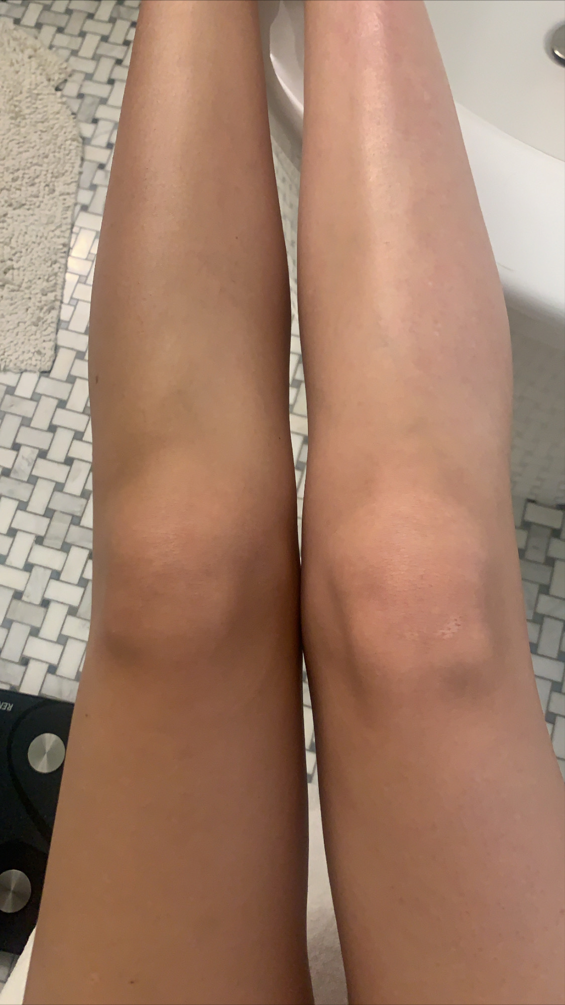 before and after self-tanner routine